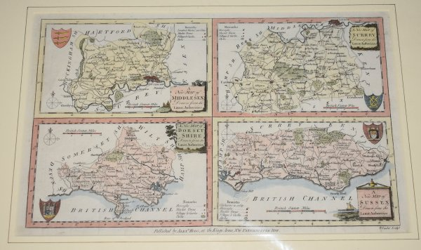 Image for Four Maps on One Plate. A New Map of Dorsetshire, Middlesex, Surrey,  Sussex. Drawn from the Latest Authorities.