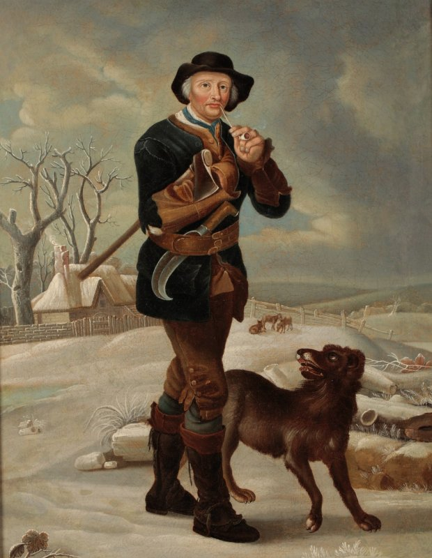 Image for Original Period Early 19th Century Oil on Canvas Painting 'The Woodman' A man carrying an axe under one arm whilst smoking a pipe, his dog beside him as they walk down a snowy path