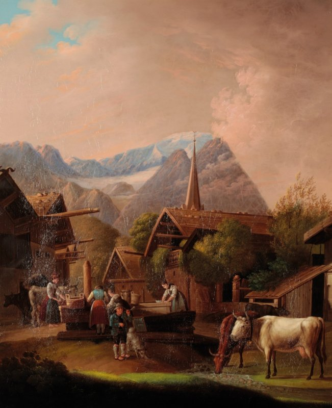 Image for Original Period Early 19th Century Oil on Board Painting An Alpine scene with figures and animals gathered around the town pump, mountains beyond