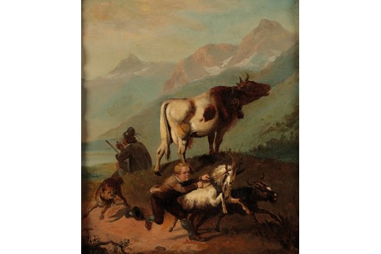 Image for Original Period Early 19th Century Oil on Canvas Painting An Alpine scene depicting figures and animals beside mountainous lake.