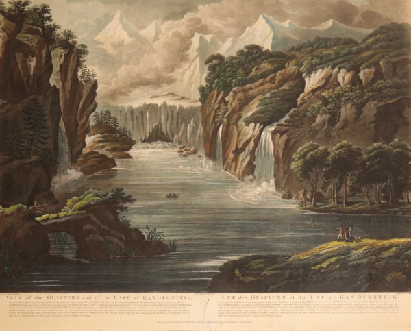 Image for RARE AND IMPORTANT GROUP OF SIX TOPOGRAPHICAL VIEWS 'THE RIVERS OF SWITZERLAND' Comprising: 'View of the source of the Rhone and of the Glacier from whence it issues ',