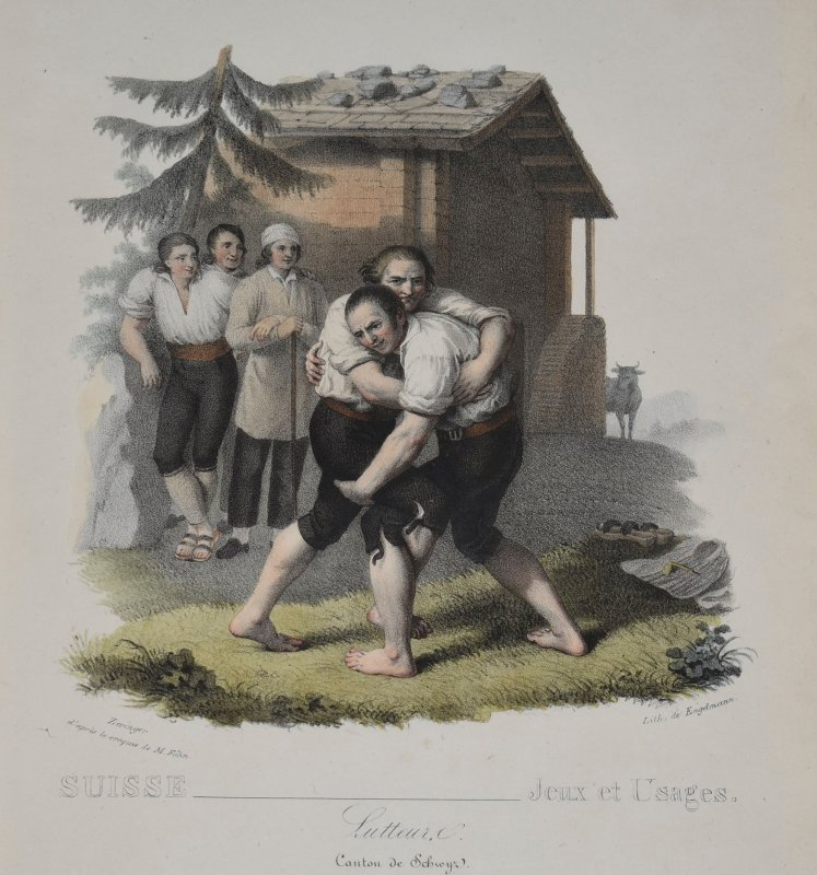 Image for Lutteurs Canton de Schwyz (Wrestlers Canton Schwyz) From Album sur le costume suisse. Switzerland-Games and uses. Number 10