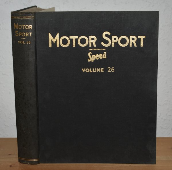 "Image for MOTOR SPORT. Incorporating  SPEED and  ""The Brooklands Gazette"". Jan 1950 to Dec. 1950. Complete Year Bound together with stunning colour illustrated front covers. 12 Issues. Volume 26."