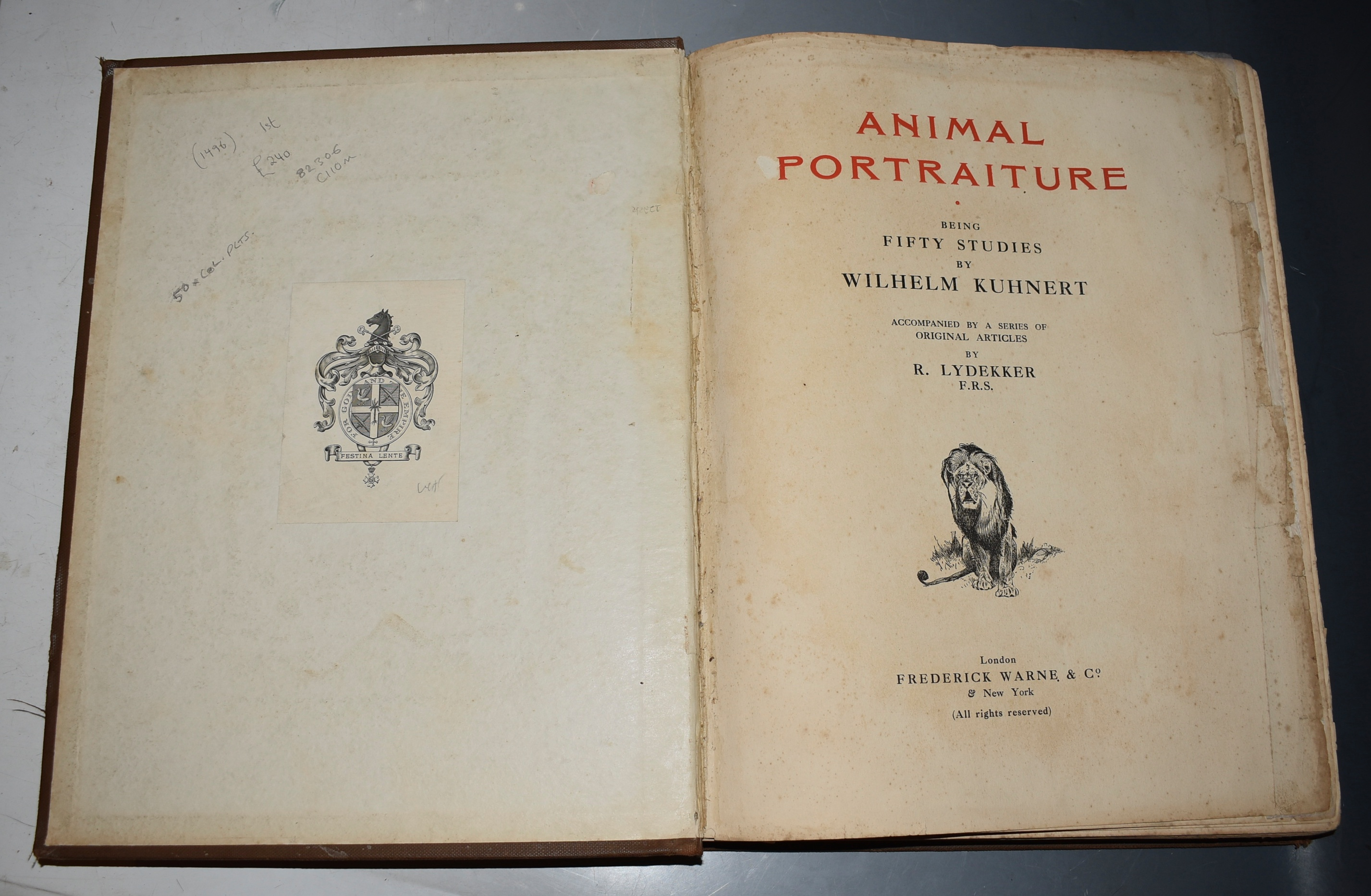 Image for Animal Portraiture. Being Fifty Studies by Wilhelm Kuhnert. Accompanied by a series of original articles by R. LYDEKKER.