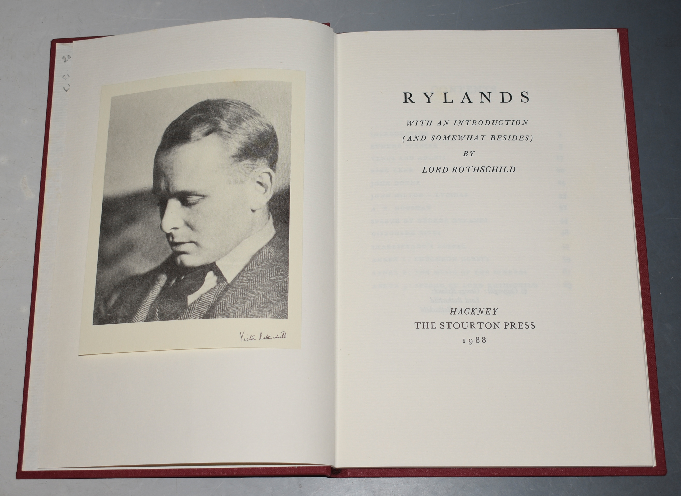 Image for Rylands. With an introduction (and somewhat besides) by Lord Rothschild. Signed limited edition.