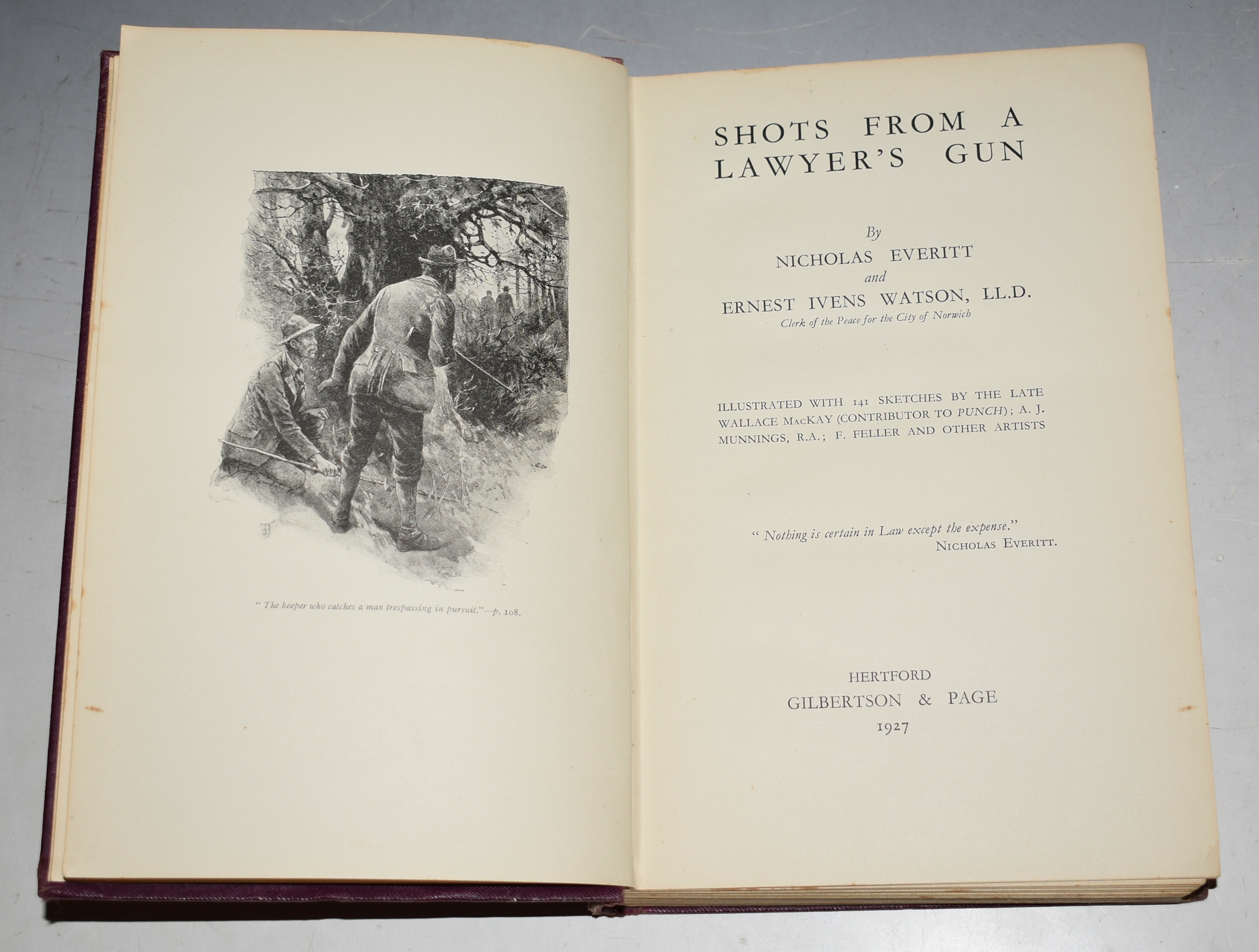 "Image for Shots from a Lawyer's Gun. Illustrated with 141 Sketches by the late Wallace MacKay (contributor to ""Punch""), Munnings, Feller, and other artists."