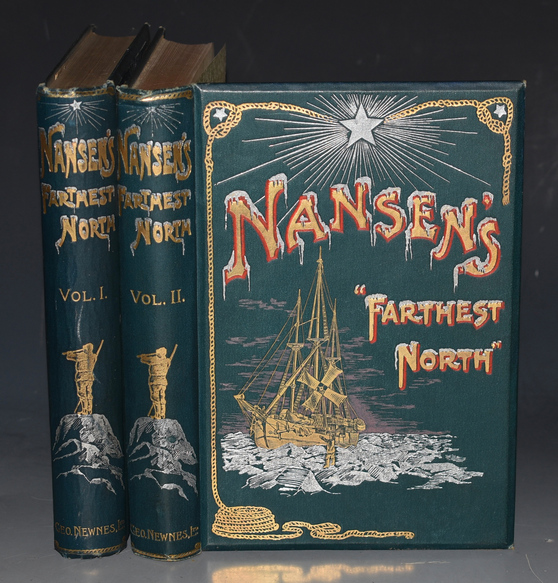 "Image for Nansen's ""Farthest North"". Two volumes. Being the Record of a Voyage of Exploration of the Ship ""Fram"" 1893-96 and of a Fifteen Months' Sleigh Journey by Dr. Nansen and Lieut. Johansen with an Appendix by Otto Sverdrup Captain of the Fram."