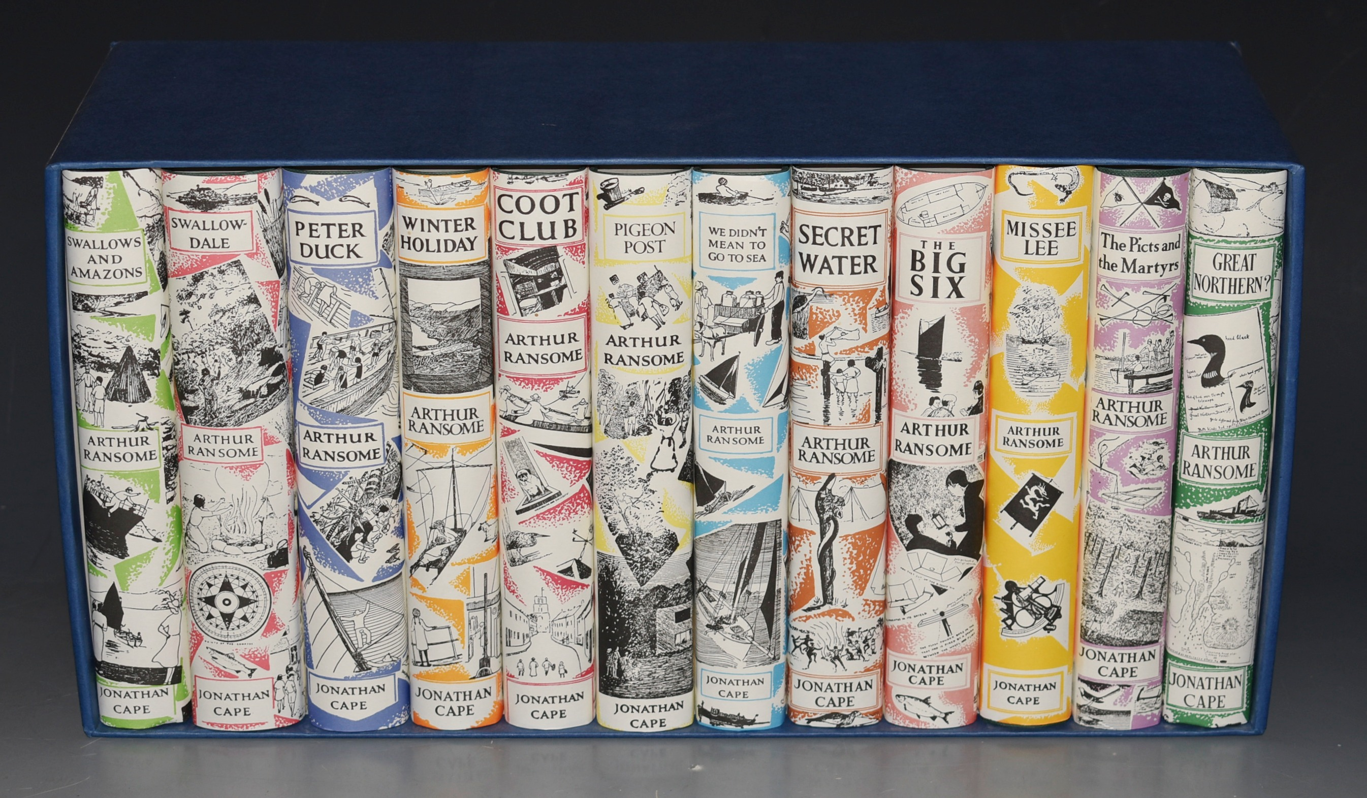 Image for The Classic Boating Novels of Arthur Ransome Swallows and Amazons; Swallowdale; Peter Duck; Winter Holiday; Coot Club; Pigeon Post; We Didn't Mean to Go to Sea; Secret Water; The Big Six; Missee Lee; Picts & Martyrs; Great Northern?. Twelve Volumes in Slipcase.