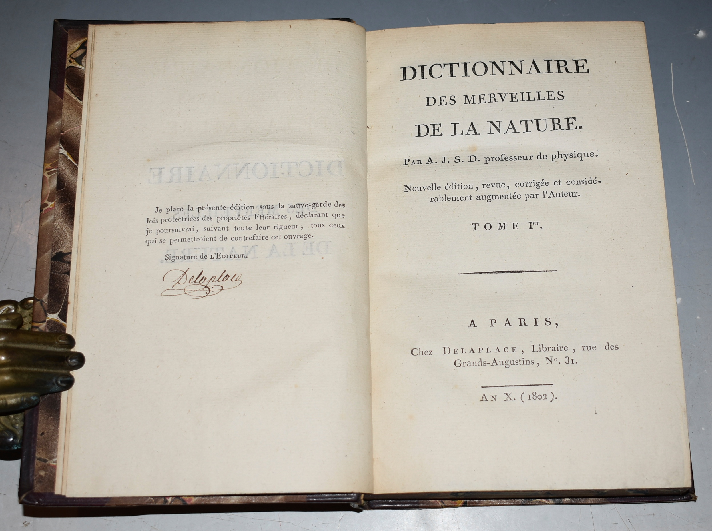 Image for Dictionnaire Des Merveilles de la Nature. Nouvelle edition, revue, corrigee et considerablement augmentee par l'Auteur. (Dictionary of Wonders of Nature.  New edition, revised, corrected and considerably increased by the Author.) In Three Volumes. SIGNED.