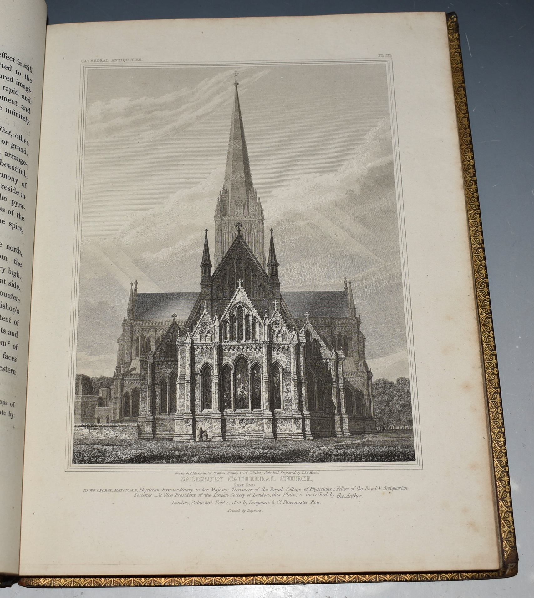 Image for The History and Antiquities of the Cathedral Church of Salisbury, Illustrated with A Series of Engravings, of views, elevations, plans, and details of that edifice: also Etchings of the Ancient Monuments and Sculpture; including biographical anecdotes of the Bishops, and of other eminent persons connected with the church.