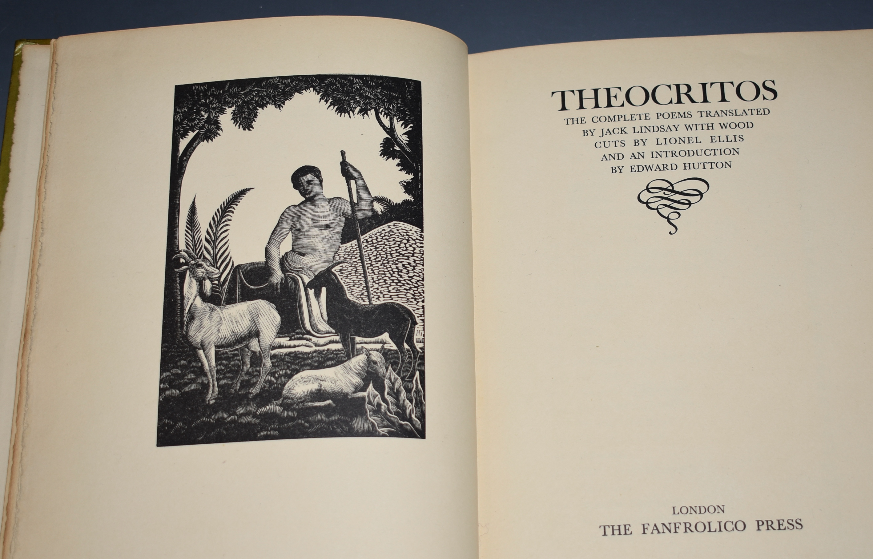 Image for Theocritos: The Complete Poems Translated by Jack Lindsay, with Wood Cuts by Lionel Ellis and an Introduction by Edward Hutton. Limited Numbered Edition.