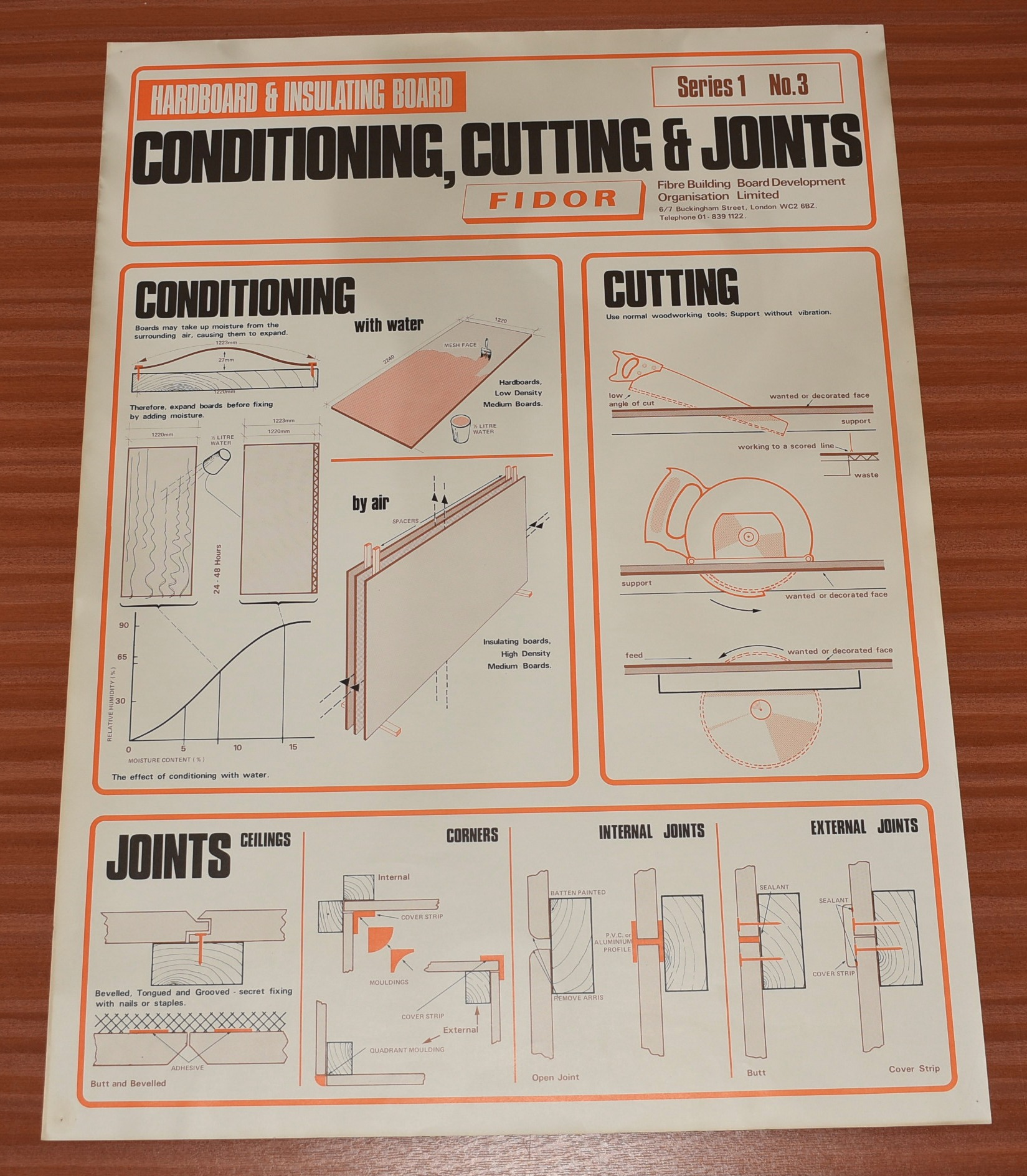 Image for ORIGINAL POSTER. Hardboard & Insulating Board, Conditioning, Cutting  & Joints Series 1 No. 3