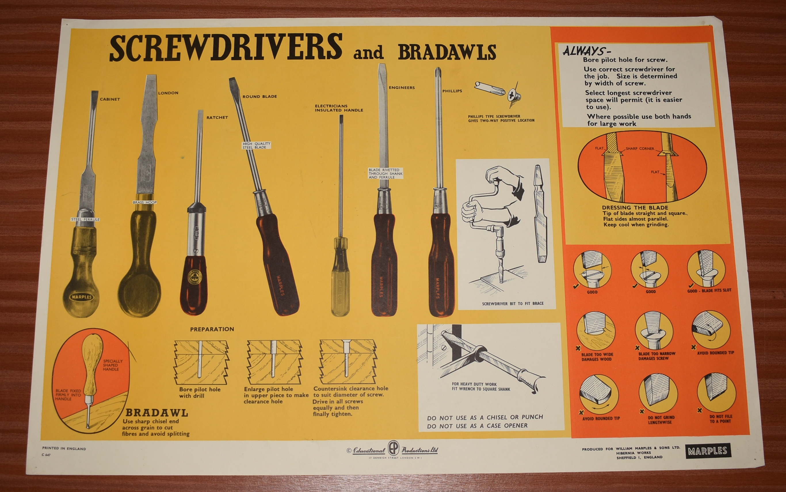 Image for ORIGINAL POSTER.  Screwdrivers and Bradawls