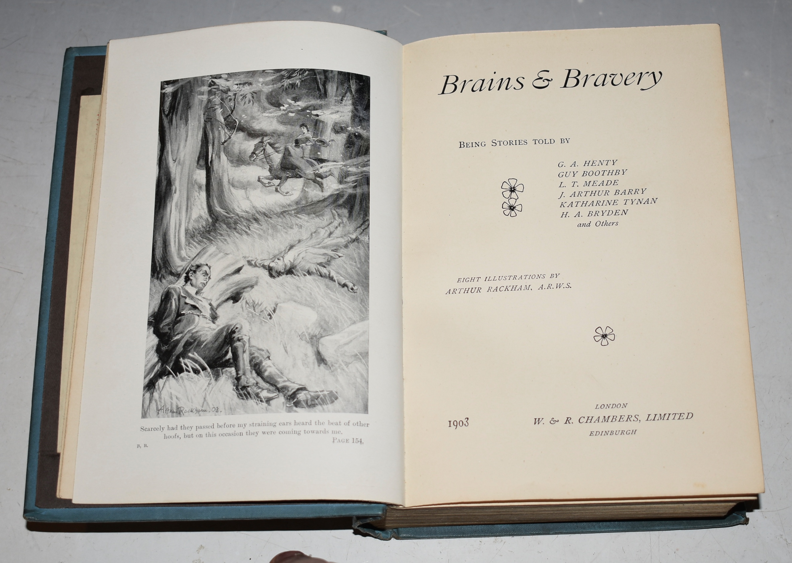 "Image for BRAINS & BRAVERY: or, ""On an Indian Trail"" / ""At Duty's Call"" / ""Working Up"" /and ""Down a Crevasse"". Being Stories Told by G. A. Henty, Guy Boothby, L T. Meade, etc., etc.;"