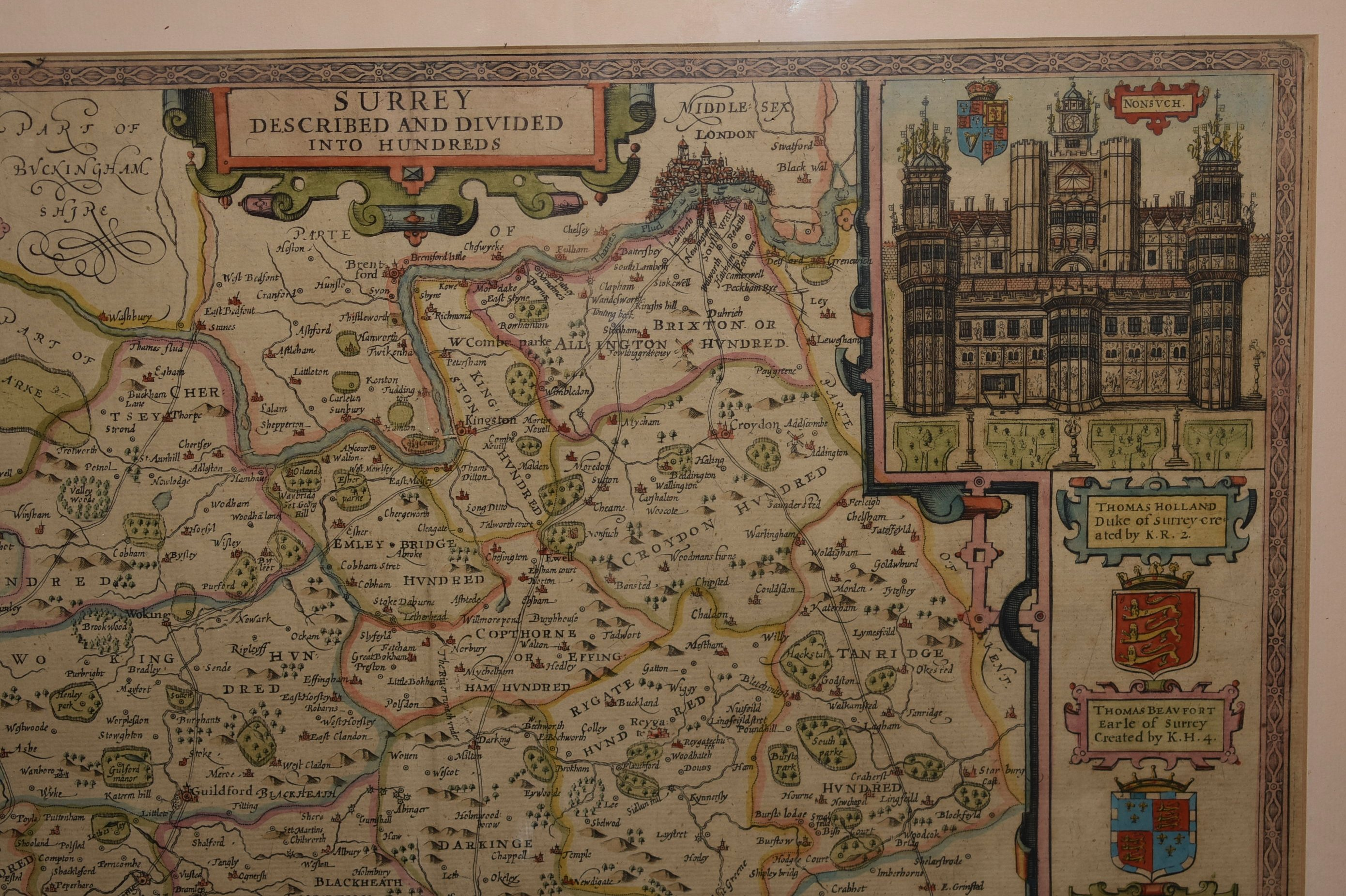 Image for Original engraved antique map of Surrey. 'SURREY DESCRIBED AND DIVIDED INTO HUNDREDS'