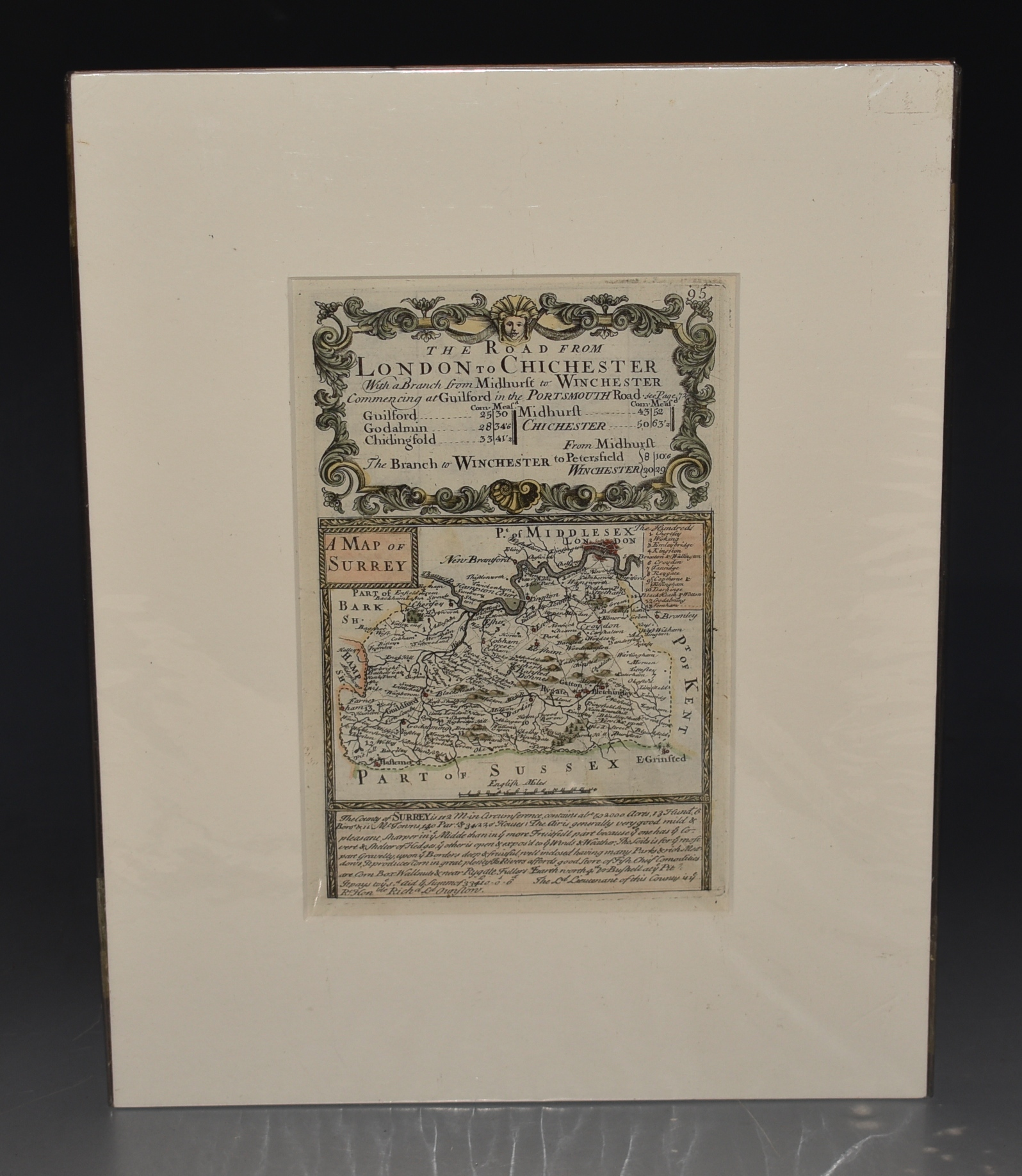 "Image for Attractive miniature Antique county map: SURREY.  From: BRITANNIA DEPICTA. or ""Ogilby Improv'd"""