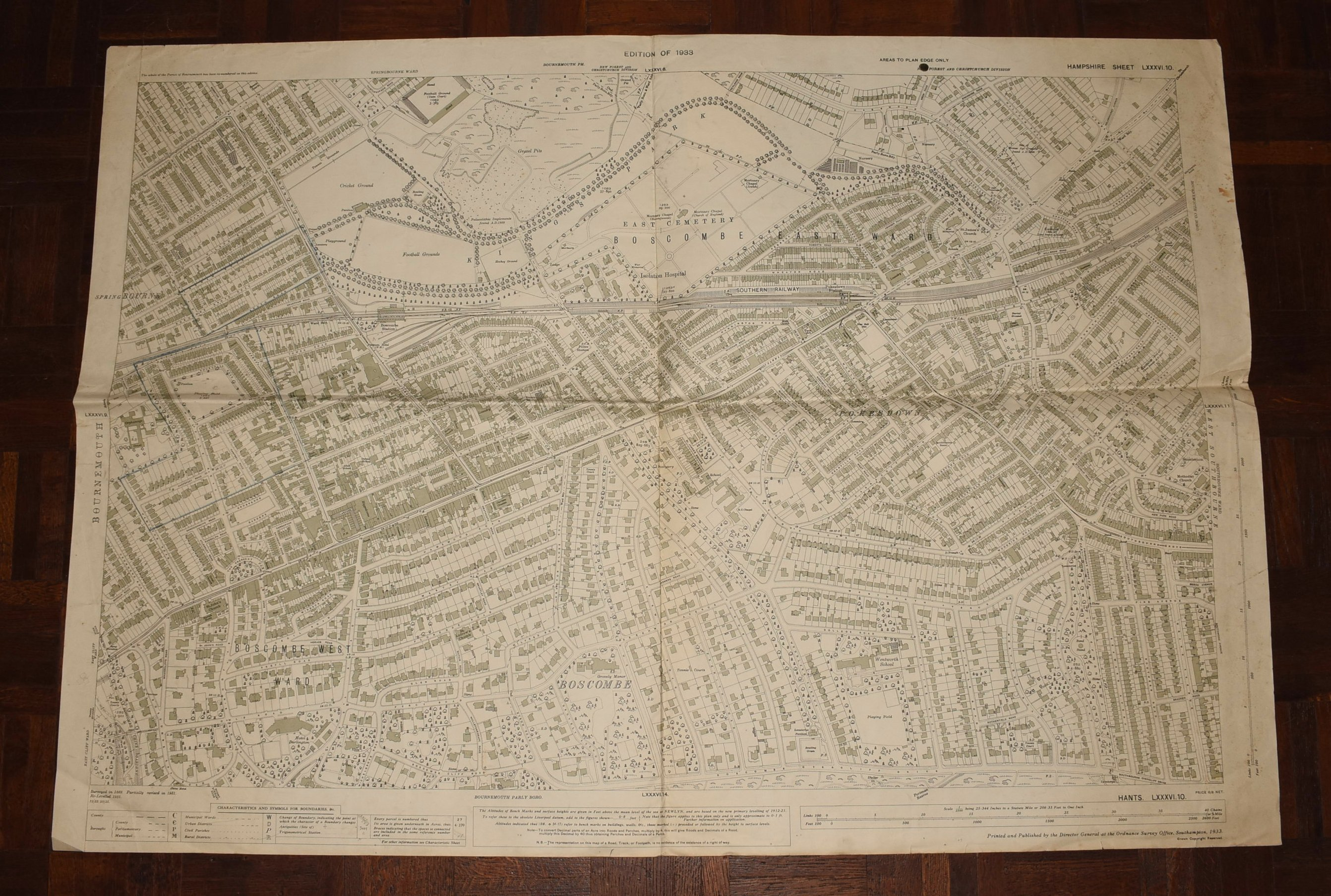 Image for LARGE Ordnance Survey MAP Sheet LXXXVI.10 HAMPSHIRE, DORSET. Bournemouth Boscombe East & West Southbourne. Scale 1:2500 or 25.344 inches to 1 mile.