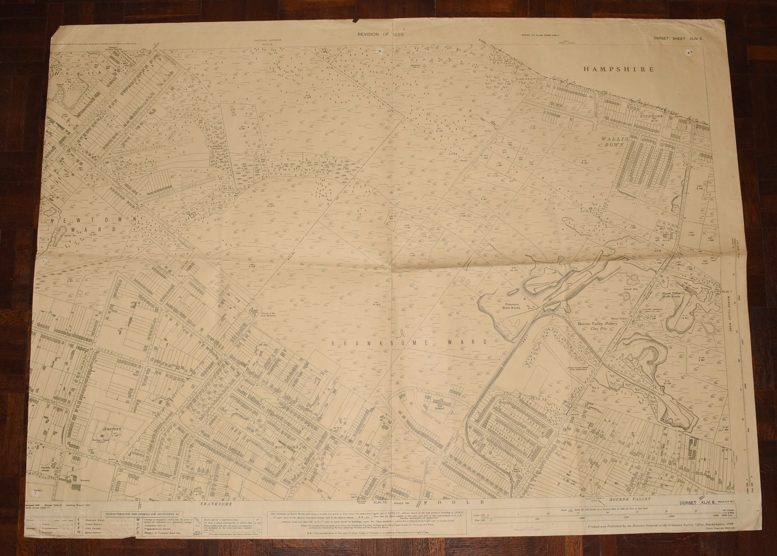 Image for LARGE Ordnance Survey MAP Sheet XLIV.6 Trinidad Estate Branksome - Bourne Valley Poole DORSET Scale 1:2500 or 25.344 inches to 1 mile.