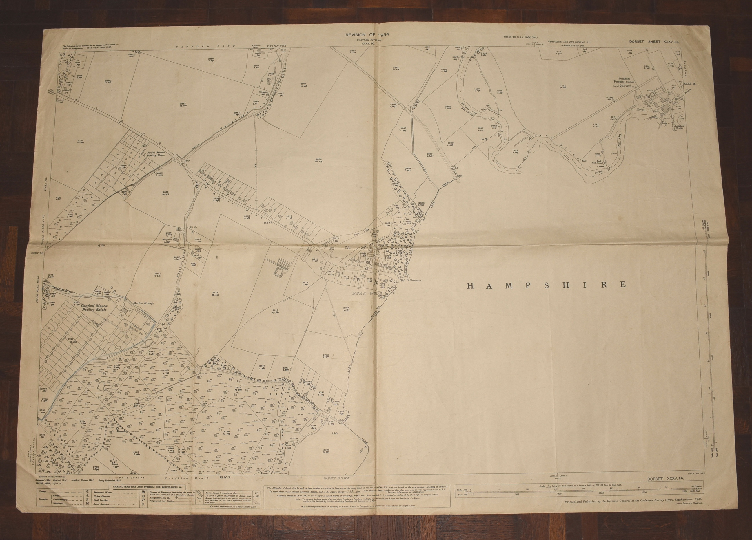 Image for LARGE Ordnance Survey MAP Sheet XXXV.14 DORSET. Knighton & Canford Magna, Bear Wood. Scale 1:2500 or 25.344 inches to 1 mile.