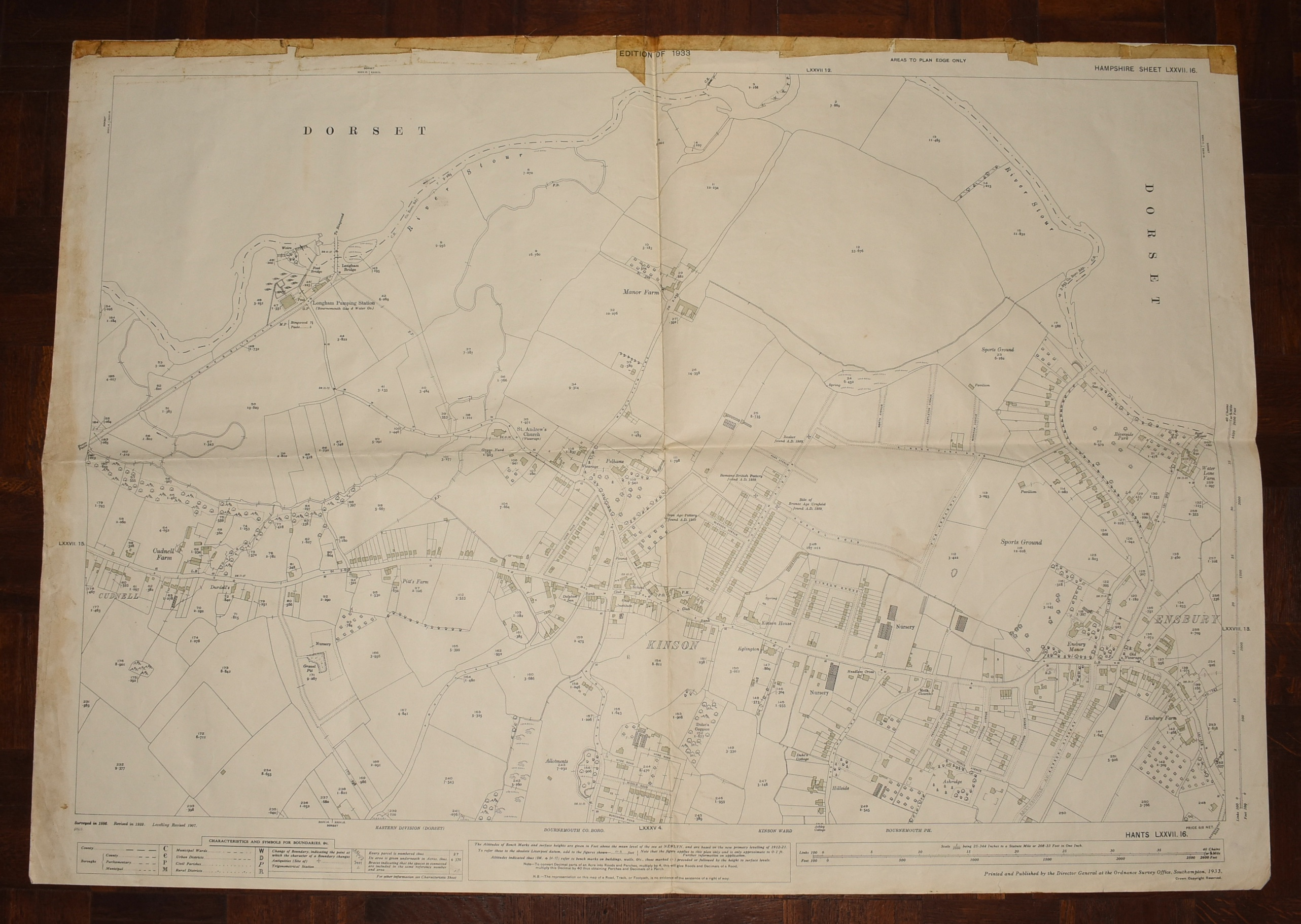 Image for LARGE Ordnance Survey MAP Sheet LXXVII.16 DORSET. North Bournemouth Kinson Scale 1:2500 or 25.344 inches to 1 mile.