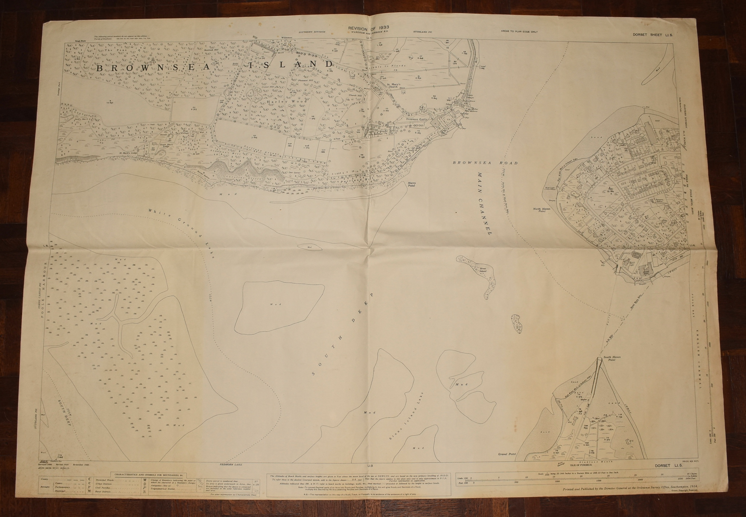 Image for LARGE Ordnance Survey MAP Sheet LI. 5 DORSET. Brownsea Island (Ferry Side) Sandbanks Scale 1:2500 or 25.344 inches to 1 mile.