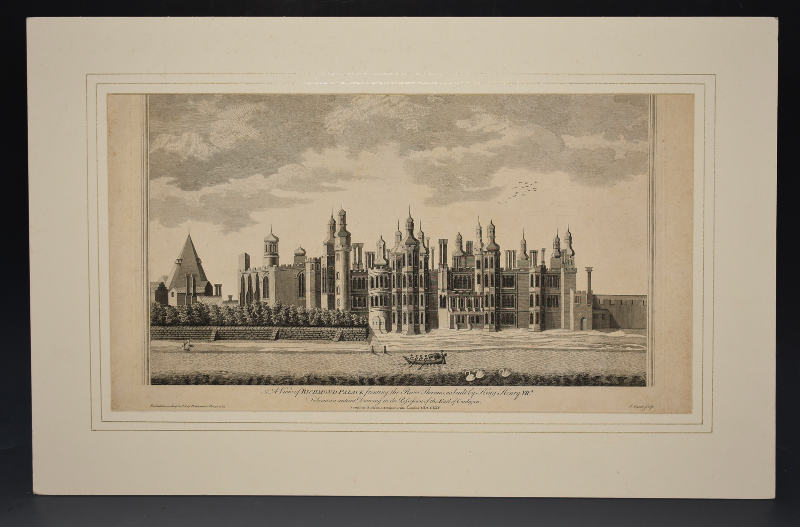 Image for View of Richmond Palace fronting the river Thames, as built by Henry VII. From an ancient drawing in the possesion of the Earl Of Cardigan. Sumptibus Societatis Antiquariorum London MDCCLXV. Published according to Act of Parliament, Dec 30,1765.