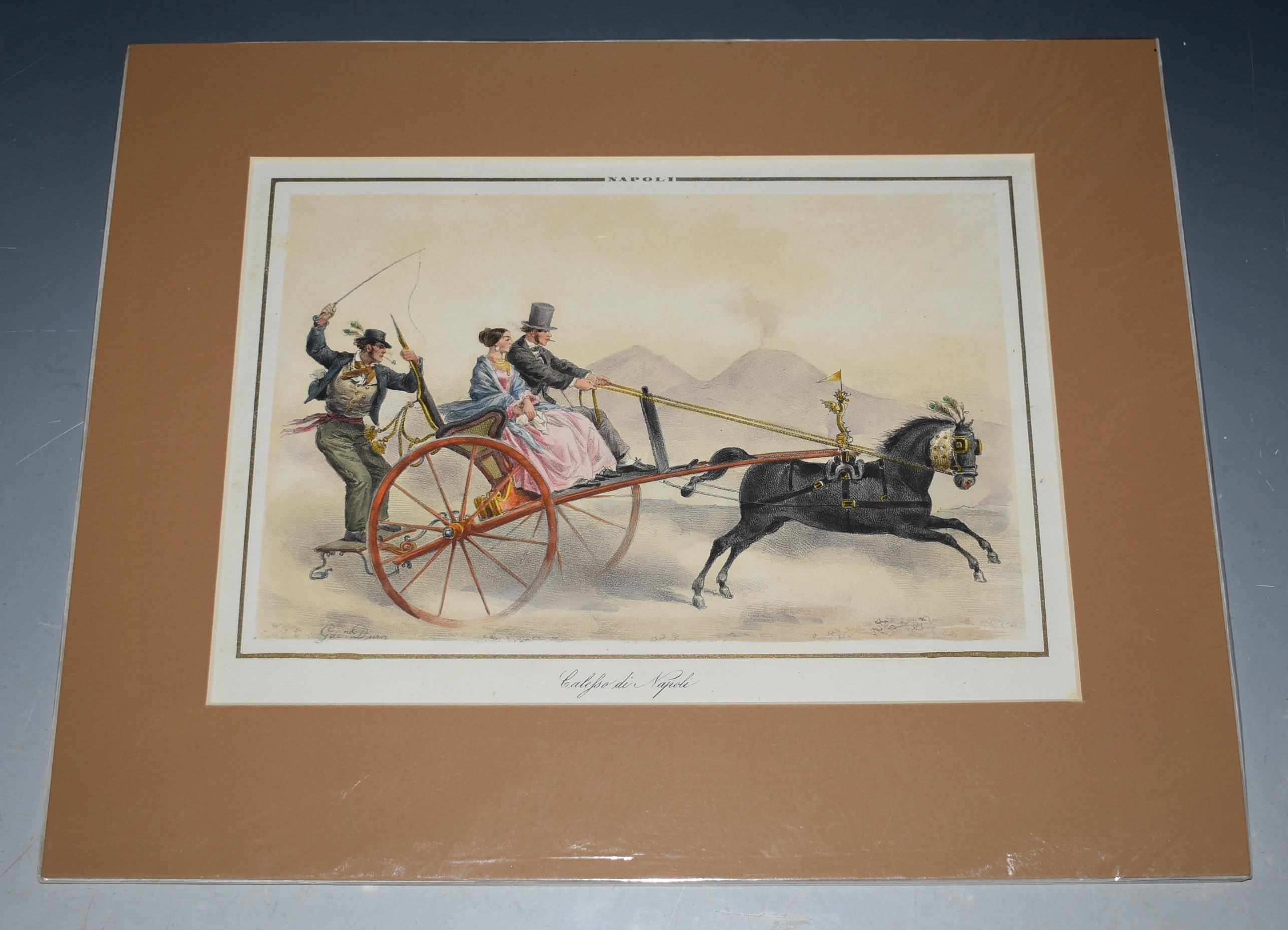 Image for Calesso di Napoli' Horse & carriage, With Mount Vesuvius in background Hand-coloured lithograph, from 'Raccolta di Costumi Napoletani', NEAPOLITAN COSTUME