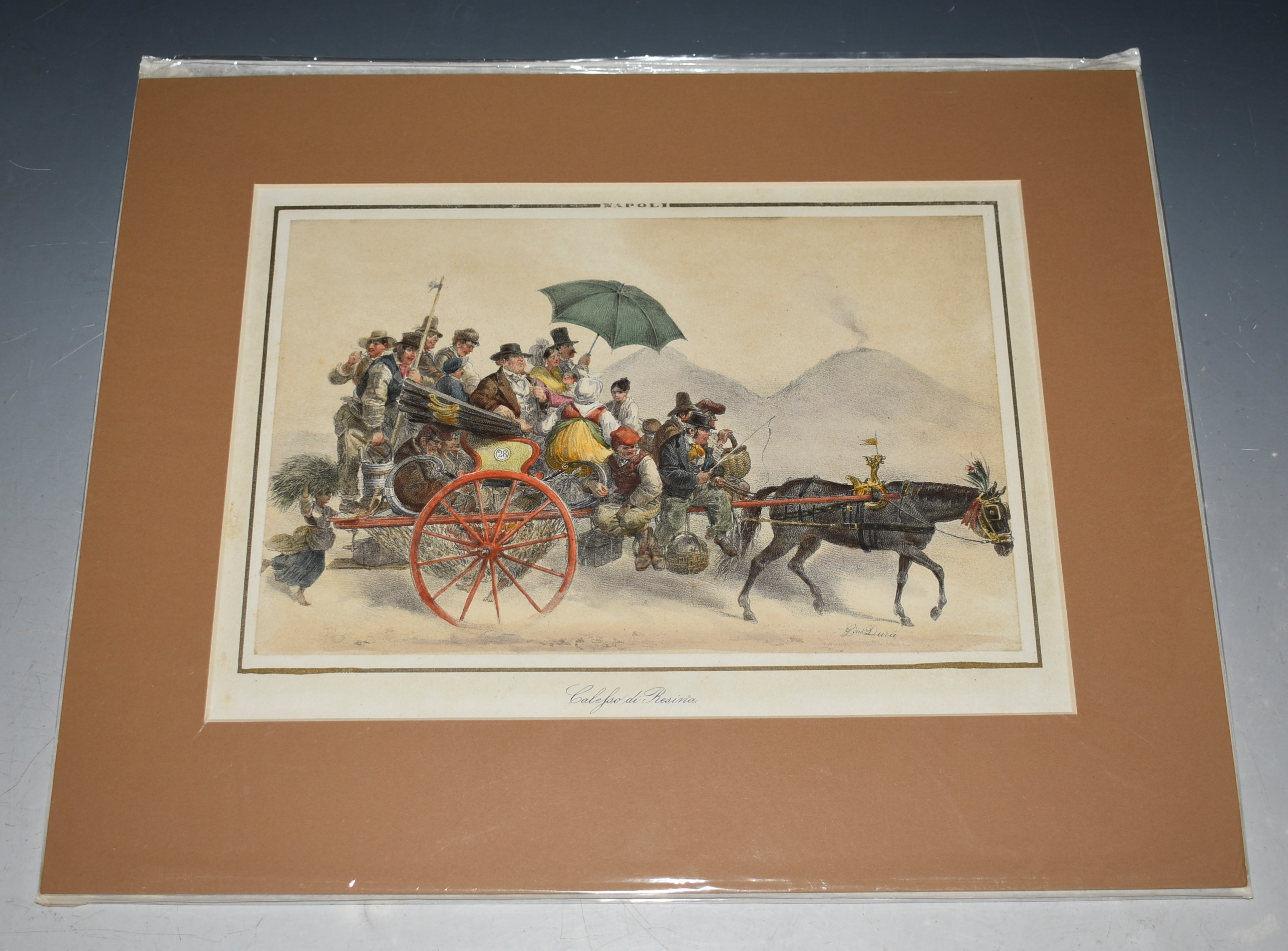 Image for Napoli Calessa di Resina Horse & carriage, With Mount Vesuvius in background. Italy Hand-coloured lithograph, from 'Raccolta di Costumi Napoletani', NEAPOLITAN COSTUME