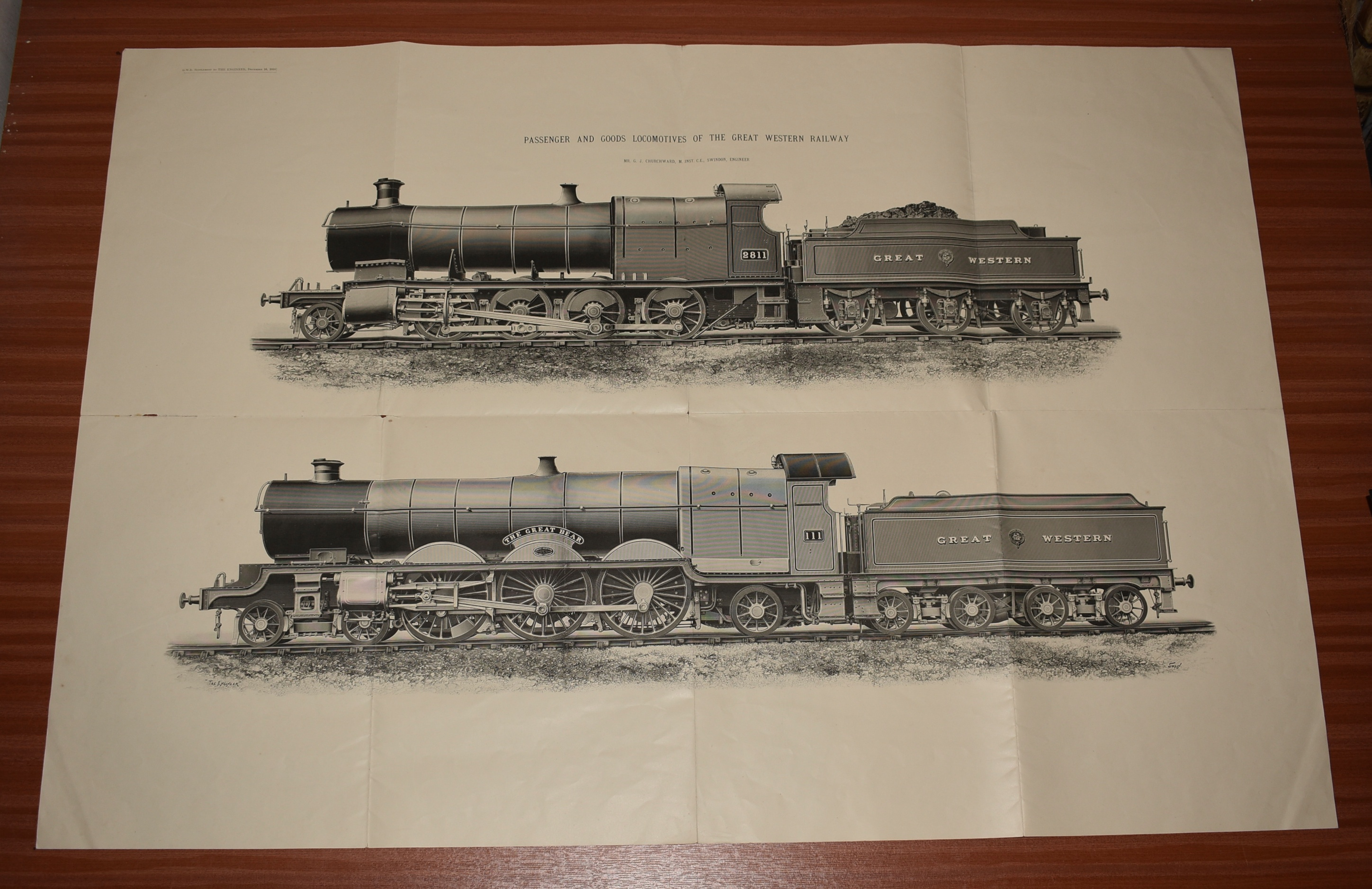 Image for LARGE Double Train Fold out Engraving Passenger & Good Locomotives of The Great Western Railway. The Great Bear. From Dec 16th 1910 ENGINEER Supplement.