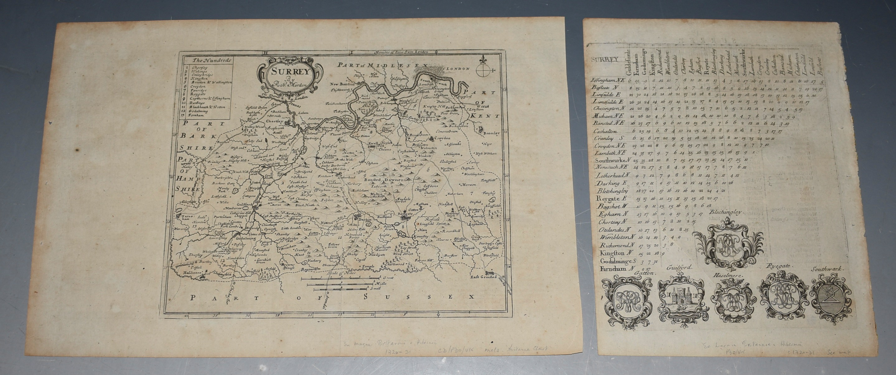 Image for ORIGINAL ENGRAVED ANTIQUE MAP OF SURREY With extra engraved plate of Distances.
