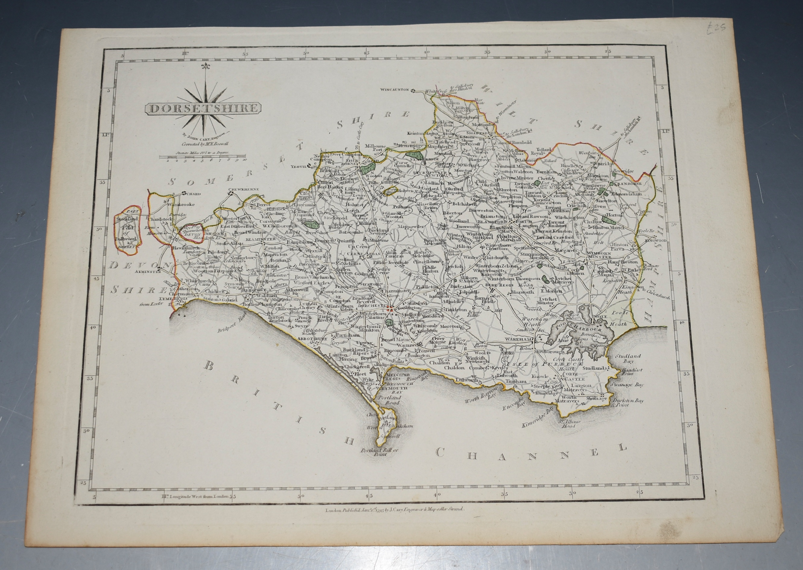Image for ANTIQUE ORIGINAL ENGRAVED MAP OF DORSETSHIRE.