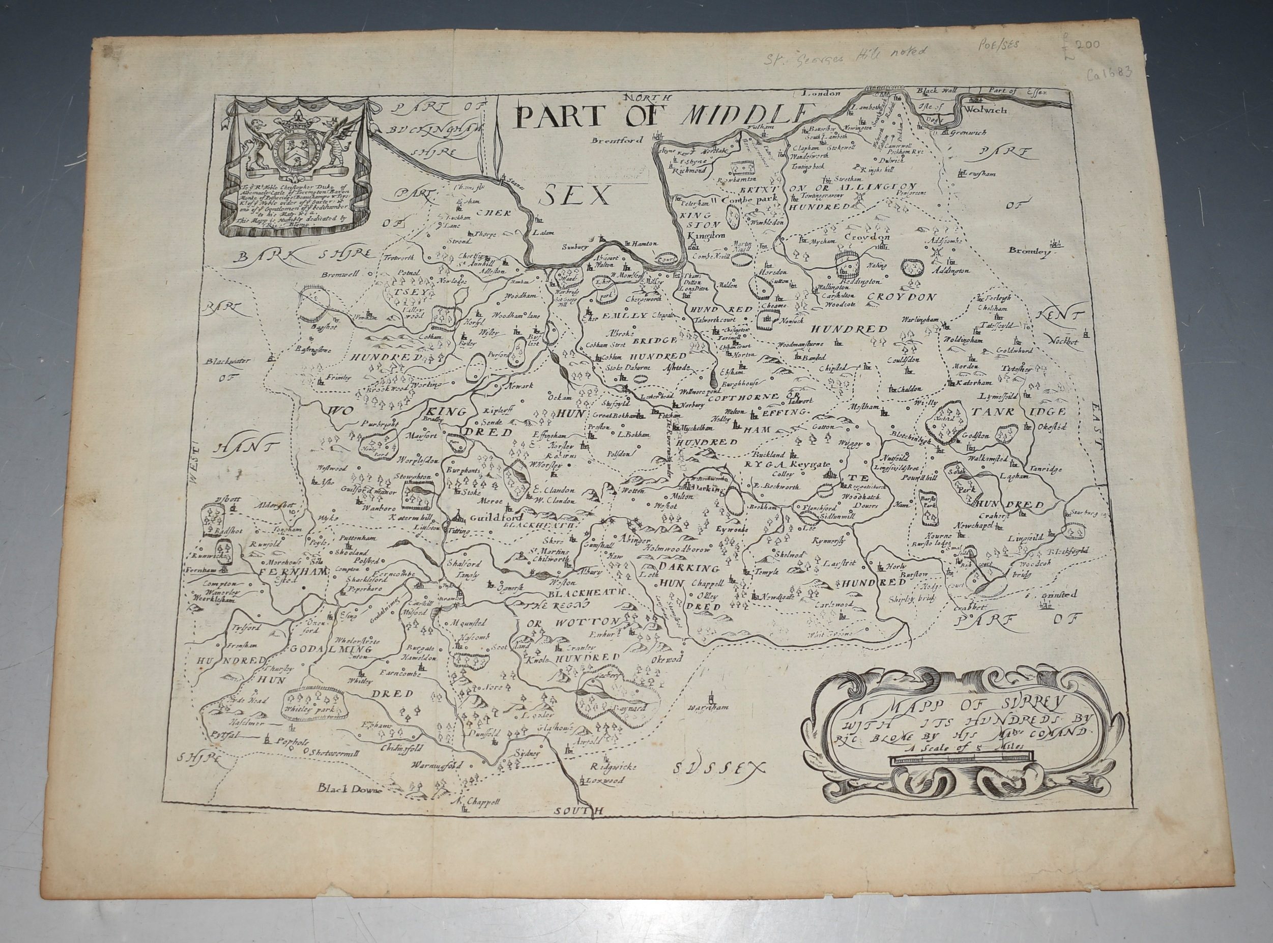 "Image for Engraved Un-Coloured Map ""'A Mapp of Surrey its Hundreds by Ric Blome by His Ma'tys command.'"""