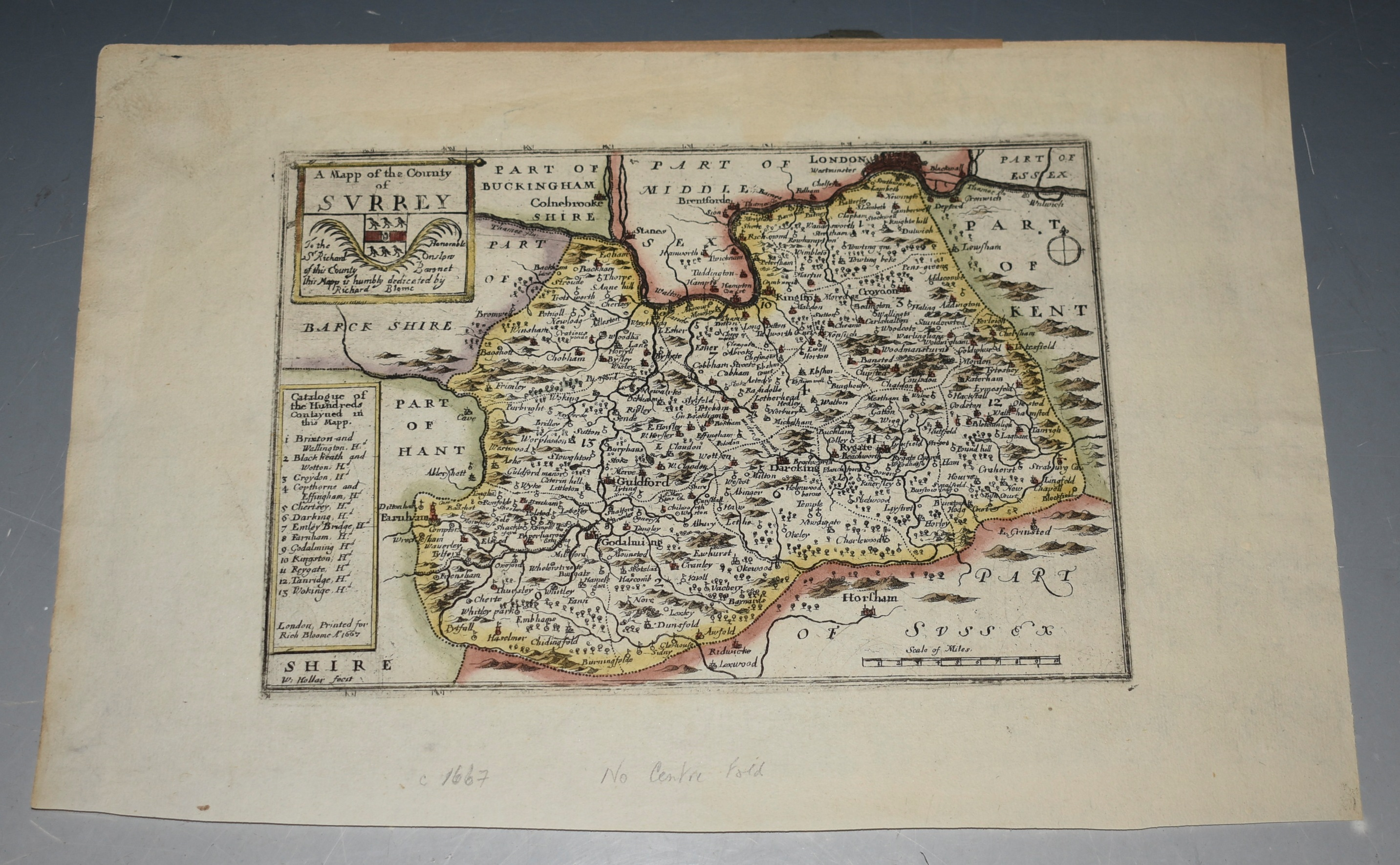 Image for Map of Surrey with Hundreds. Coat of arms and dedication to Hon. Sir Richard Onslow. Engraved Hand Coloured Map