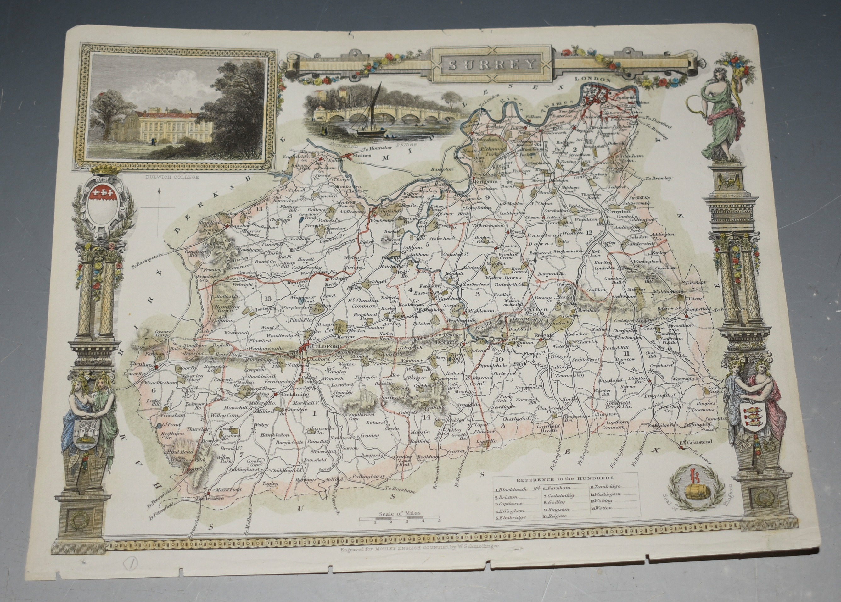 Image for Map of Surrey. Map of Surrey showing towns, villages, roads and railways.
