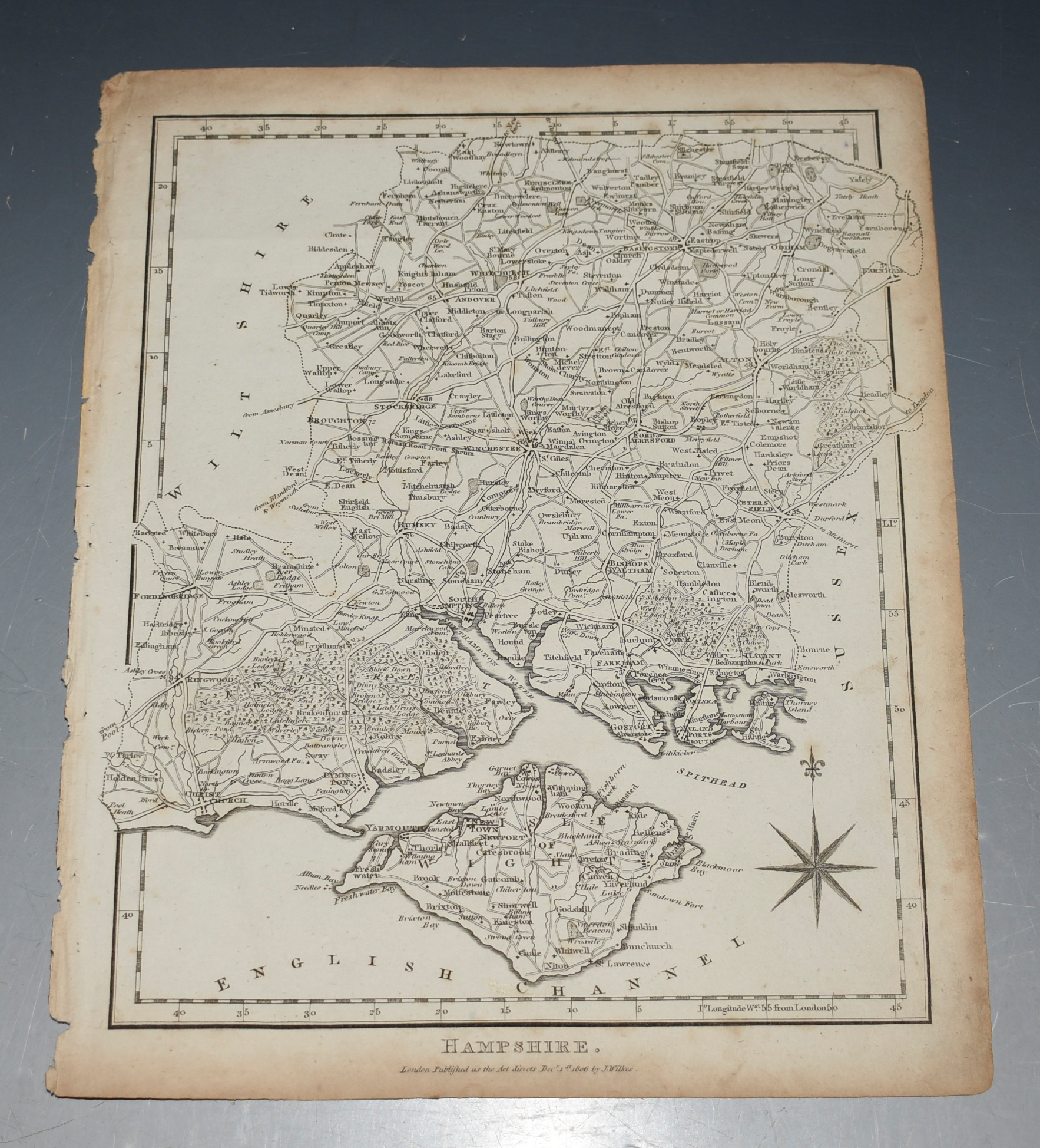 Image for Map of Hampshire, with Isle of Wight.