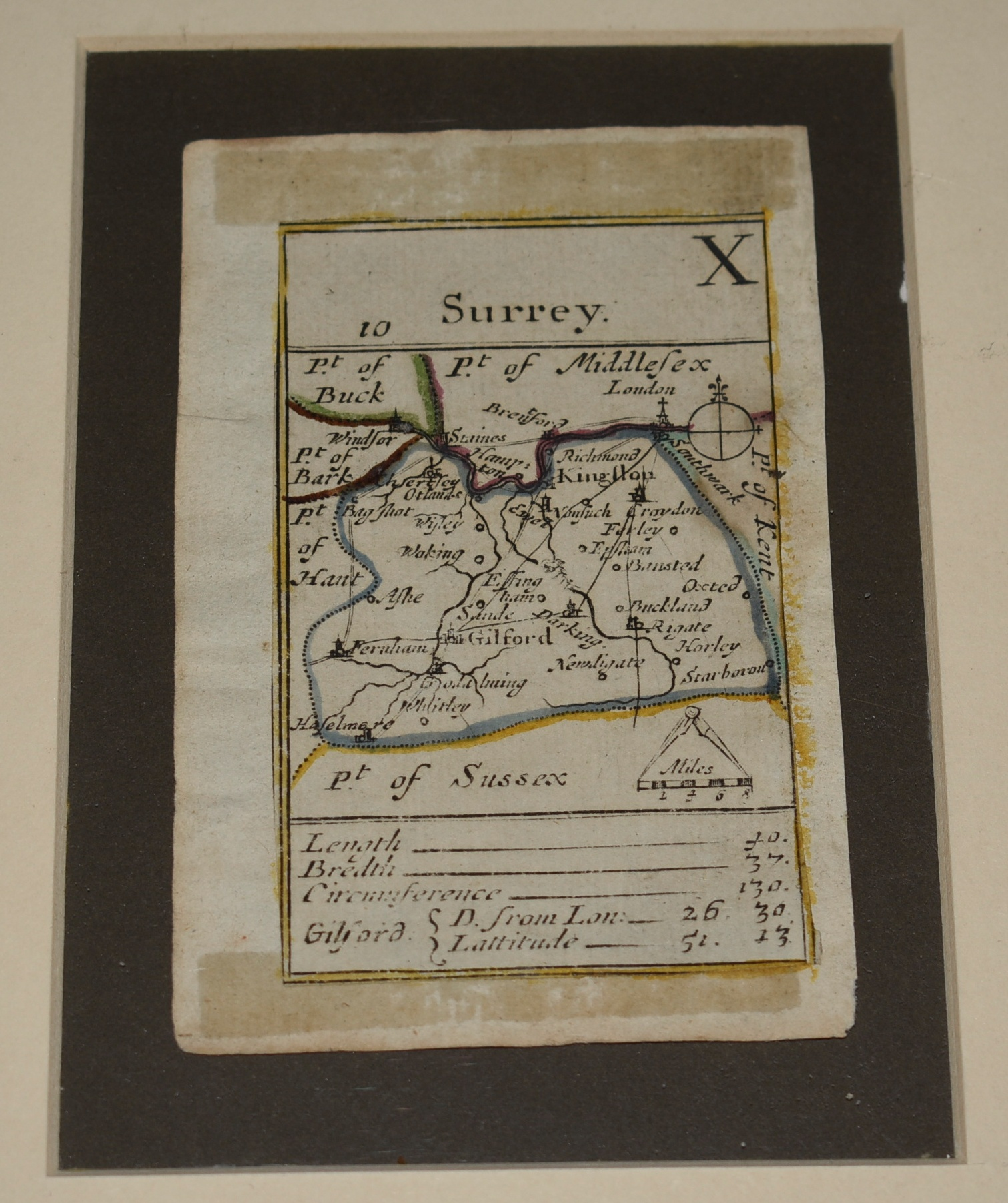 Image for ORIGINAL Scarce Playing Card Map OF SURREY Henry Turpin