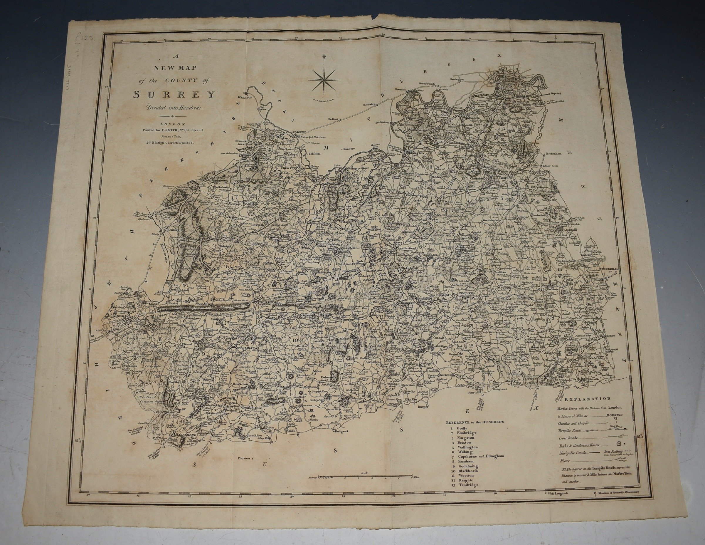 Image for ORIGINAL ENGRAVED ANTIQUE MAP OF SURREY Surrey divided into hundreds and showing roads, rivers, parks, canals and also the iron railway between Wandsworth and Croydon ( this was a horse drawn railway before steam)