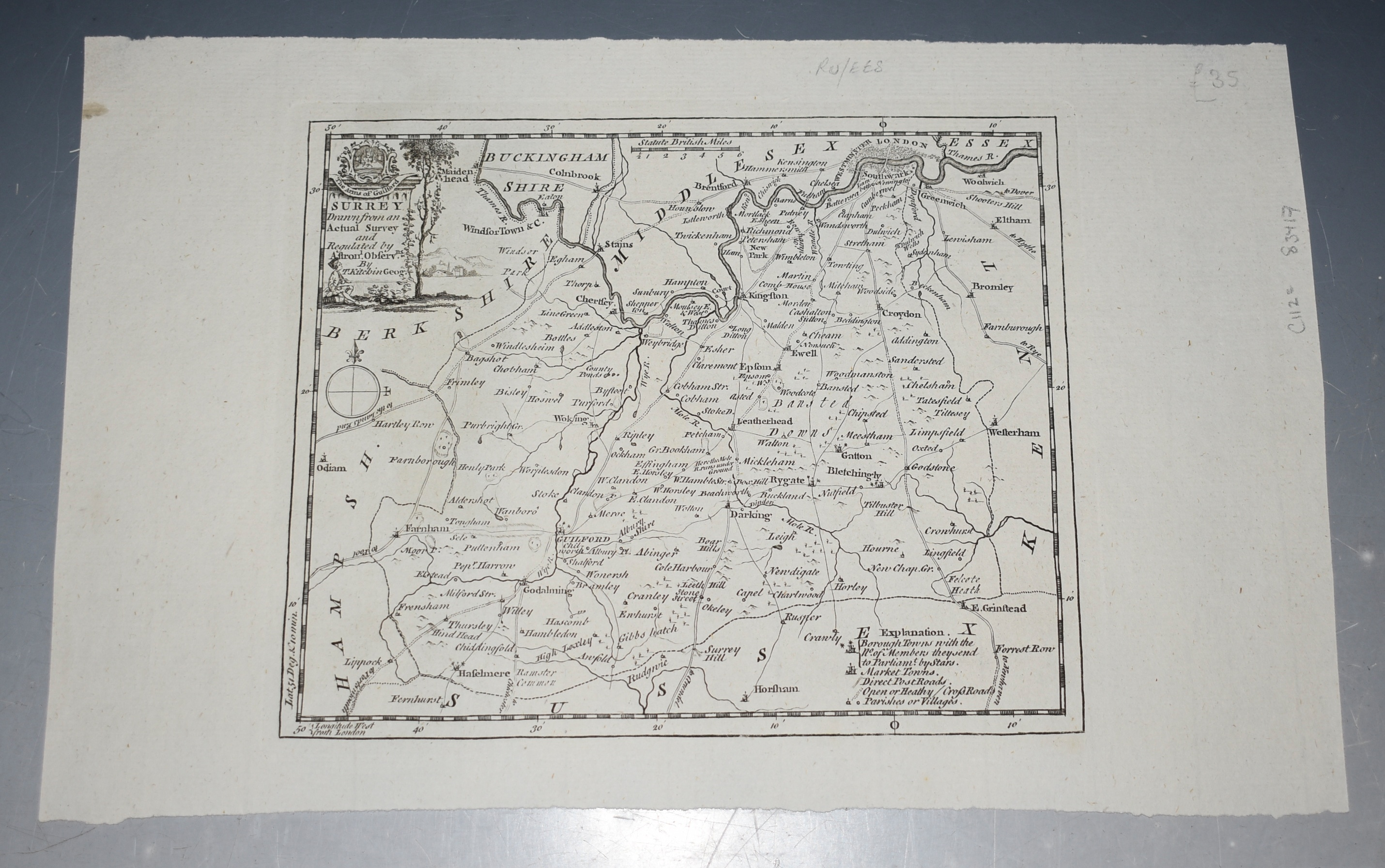 Image for ORIGINAL ENGRAVED ANTIQUE MAP OF SURREY Surrey Drawn from an Actual Survey and Regulated by Astronl. Observns. By T. Kitchin Geog.