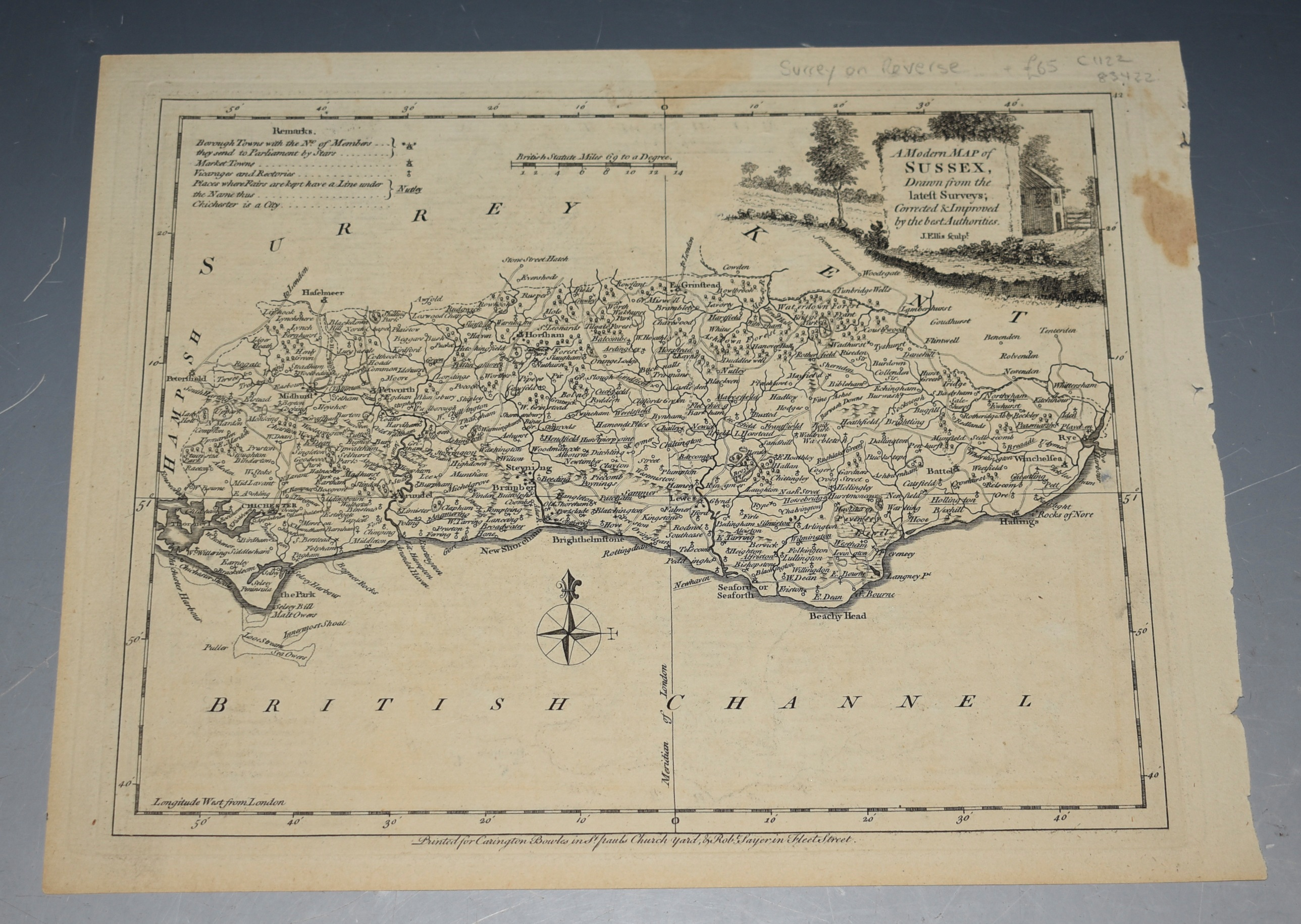 Image for ORIGINAL ENGRAVED ANTIQUE MAP OF SURREY & SUSSEX on the Reverse. A Modern MAP of  SURREY & Sussex, Drawn from the latest Surveys; Corrected & Improved by ye best Authorities. J. Ellis Sculp