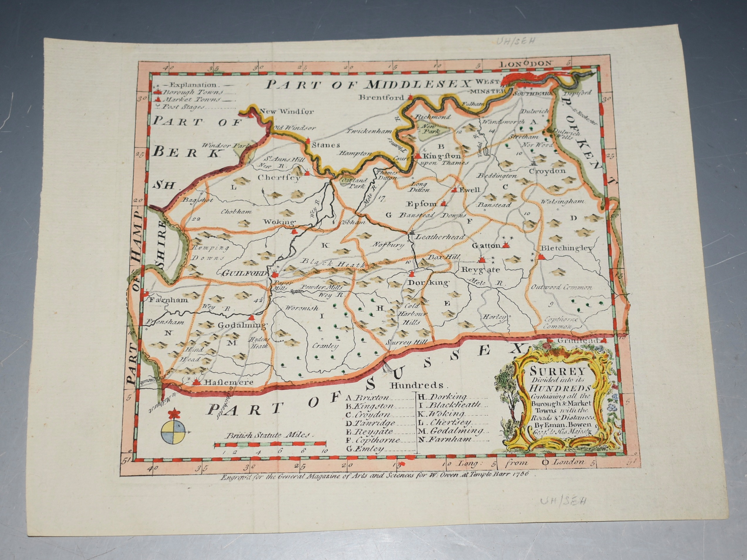 "Image for Original Hand Coloured Engraved Antique Map of ""SURREY Divided into Hundreds"" Containing the Borough and Market Towns &c. Roads & Distances."