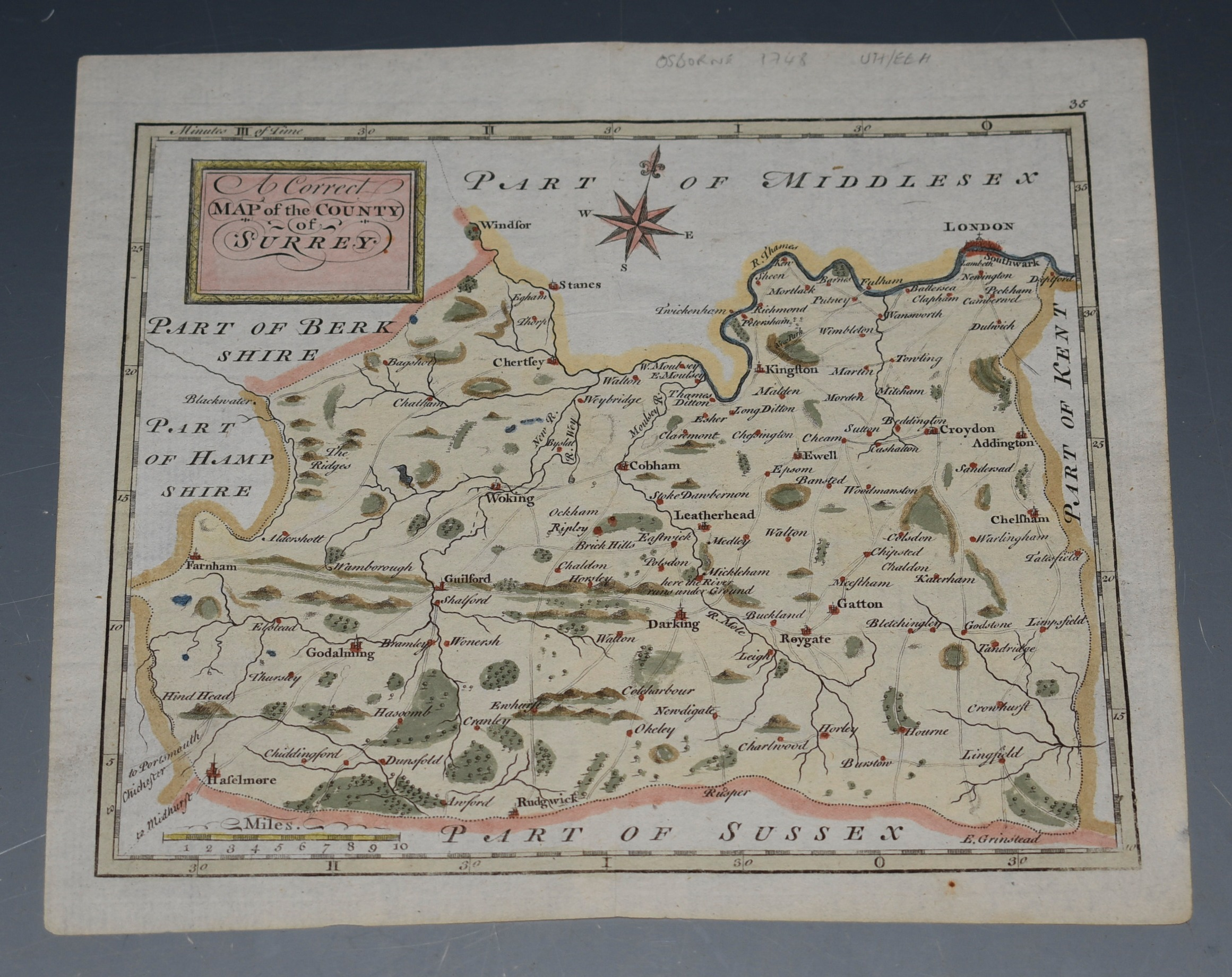 Image for ORIGINAL ENGRAVED ANTIQUE Correct MAP of the County of SURREY.