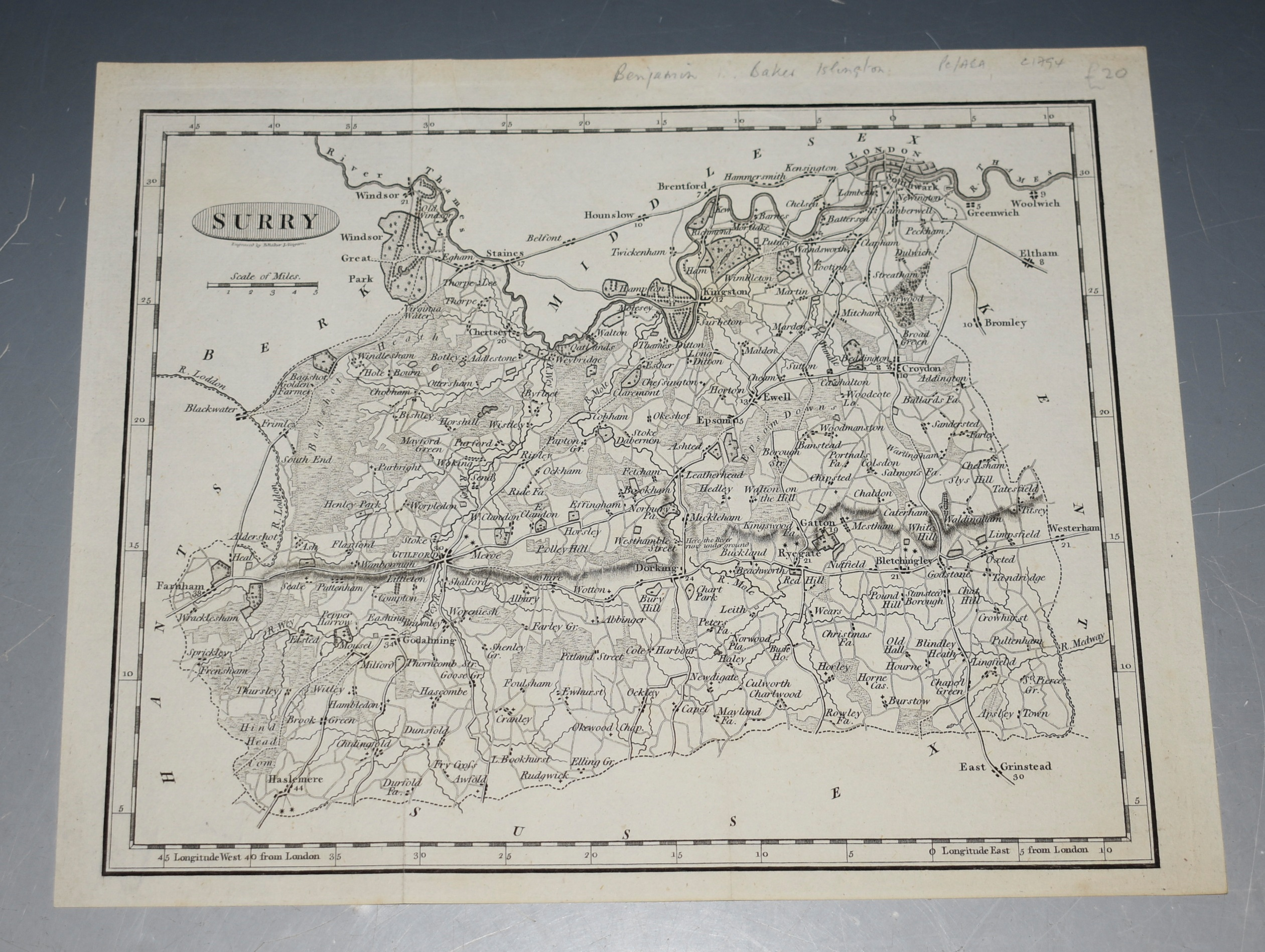 Image for ORIGINAL ENGRAVED ANTIQUE MAP OF SURREY