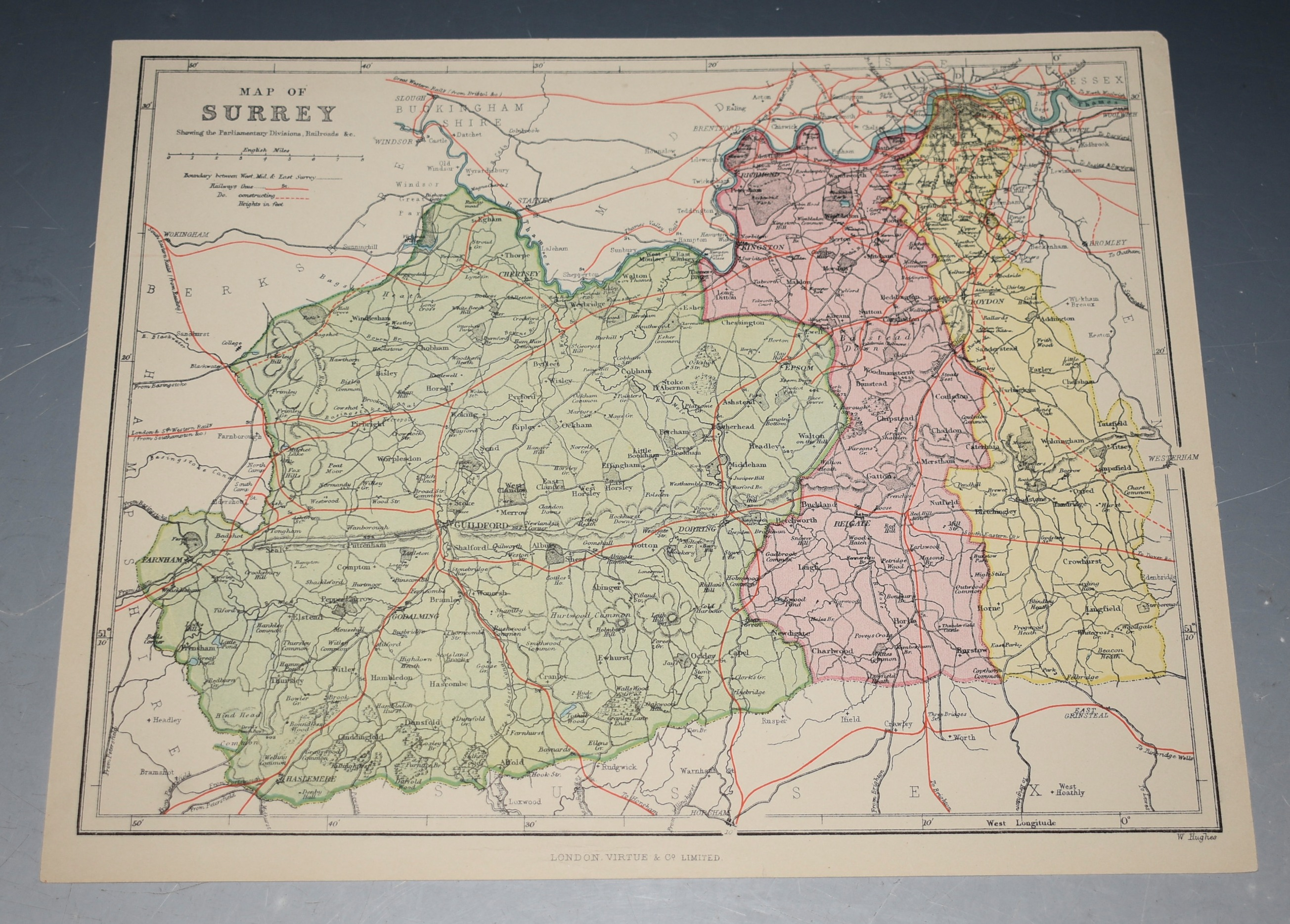 Image for Map of Surrey showing the Parliamentary Divisions, Railroads &c.