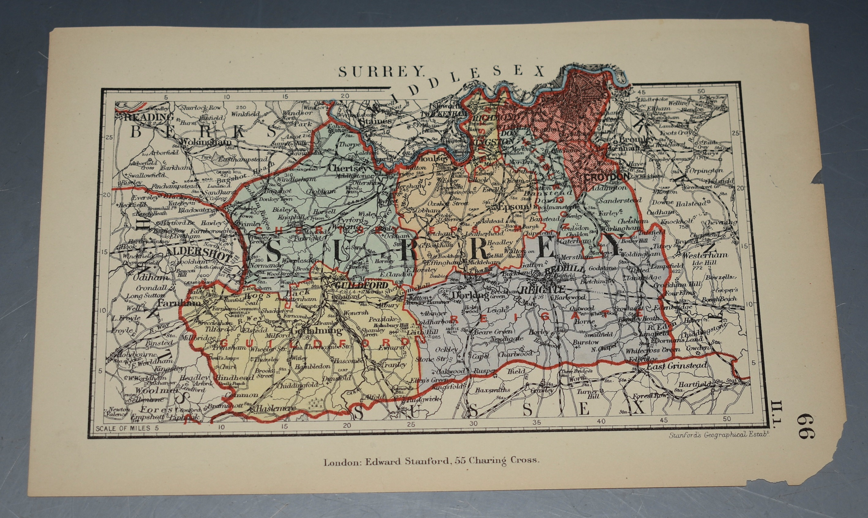 Image for ORIGINAL ANTIQUE MAP OF SURREY