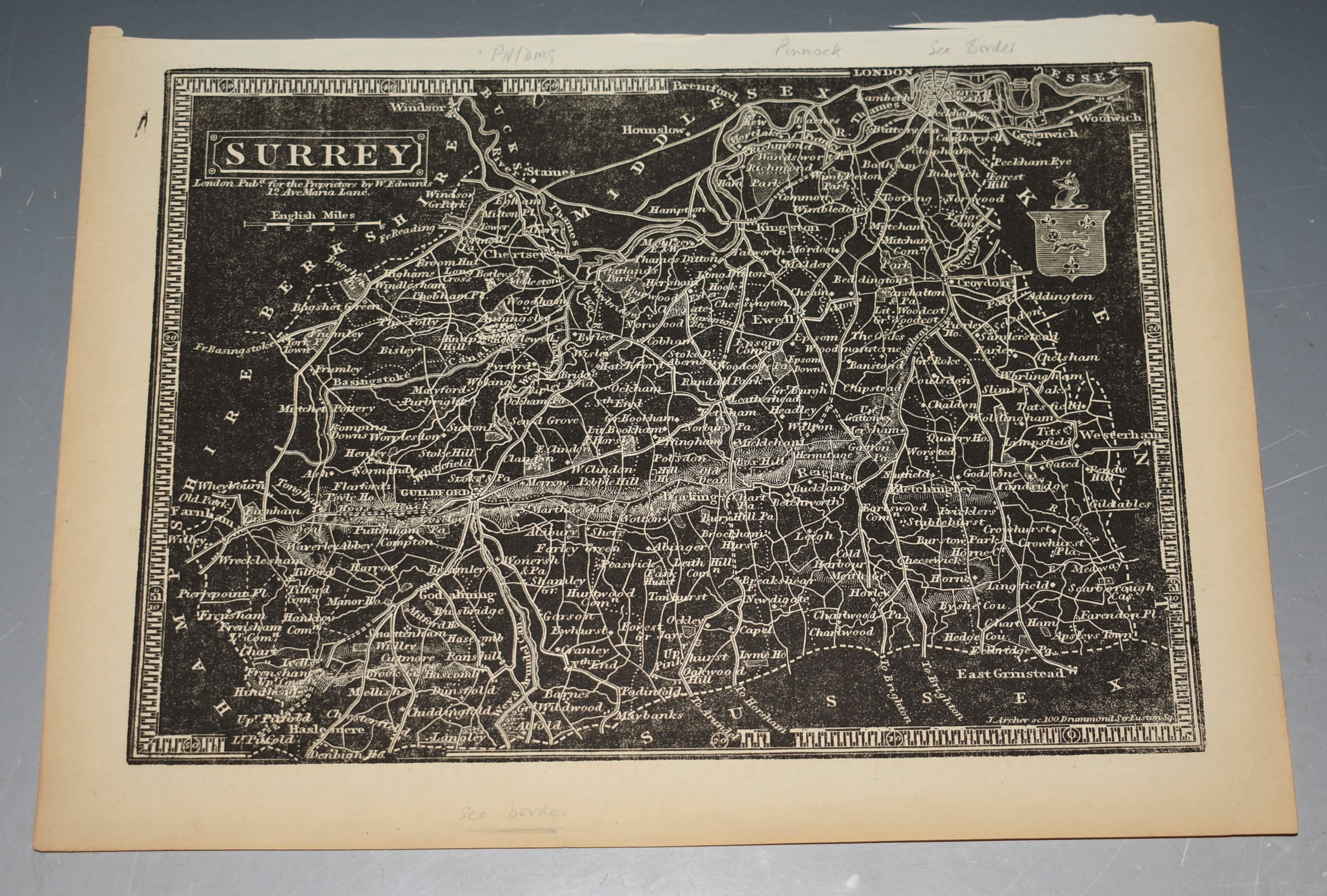 "Image for Original Antique Map of Surrey. Drawn and engraved by J. Archer. ""Negative"" Style ""Black-Map"" of Surrey."