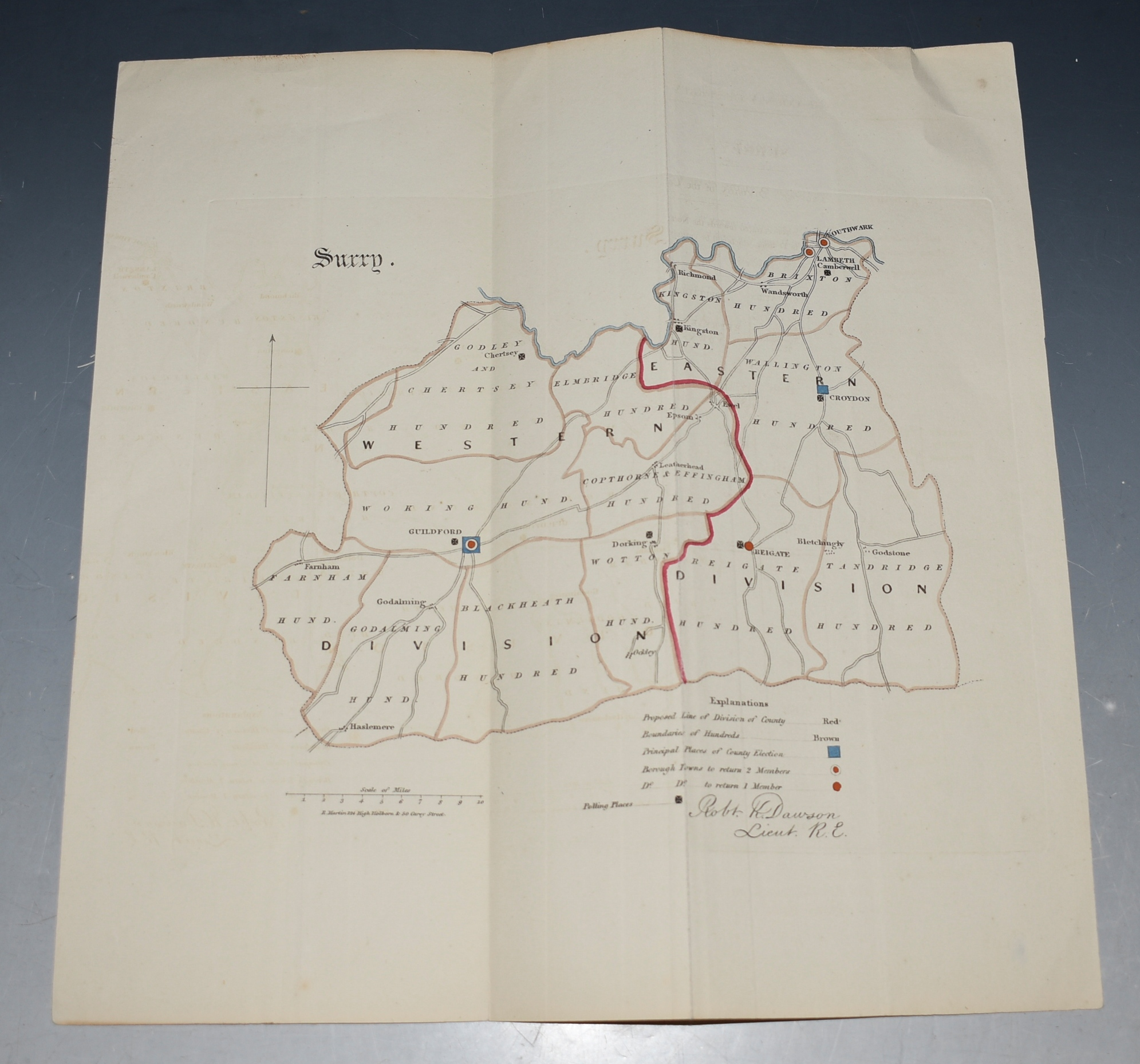 Image for Attractive original engraved Map of Surrey. Scale 10 Inches to 1 Mile