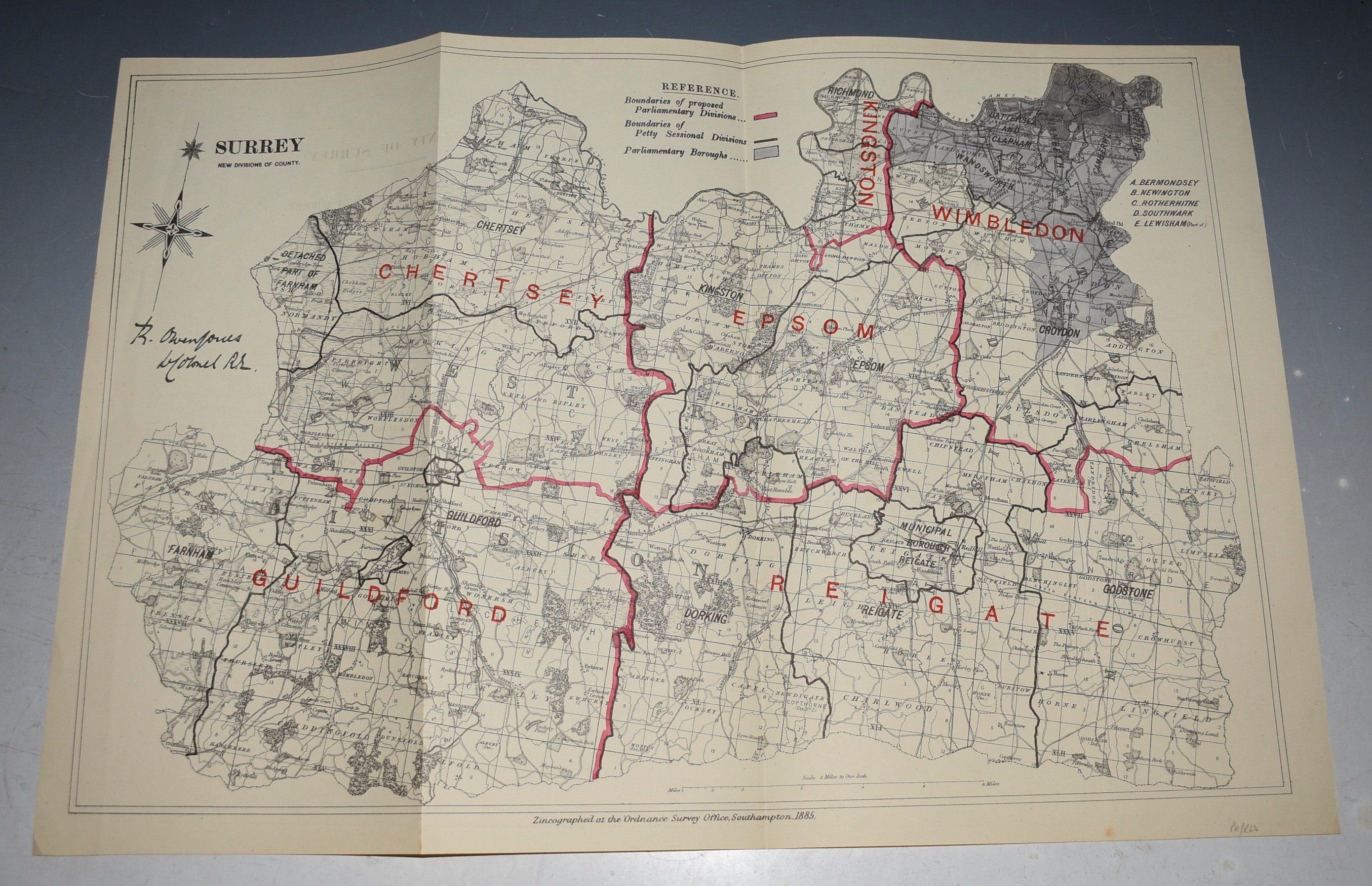 Image for SURREY New Divisions of County. An antique zincographed map drawn up by R O Jones