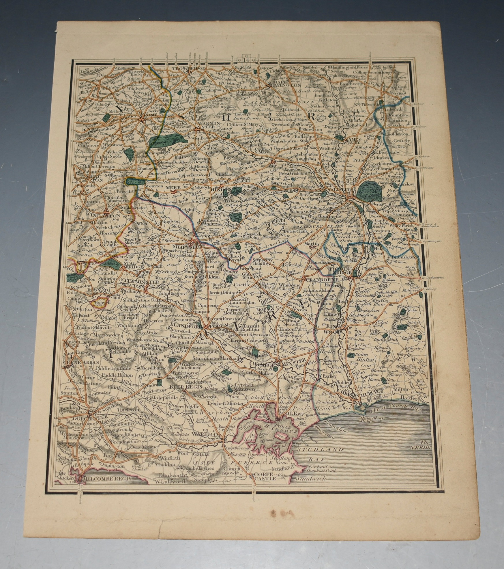 Image for ORIGINAL ENGRAVED MAP OF DORSETSHIRE. SALISBURY PLAIN DORSET COAST. Wilts Poole Bournemouth Dorchester.