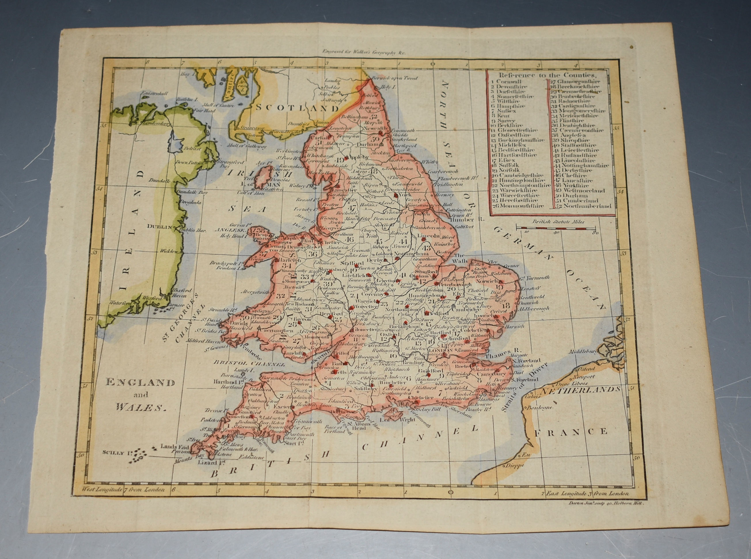 Image for ORIGINAL ENGRAVED ANTIQUE MAP OF ENGLAND & WALES