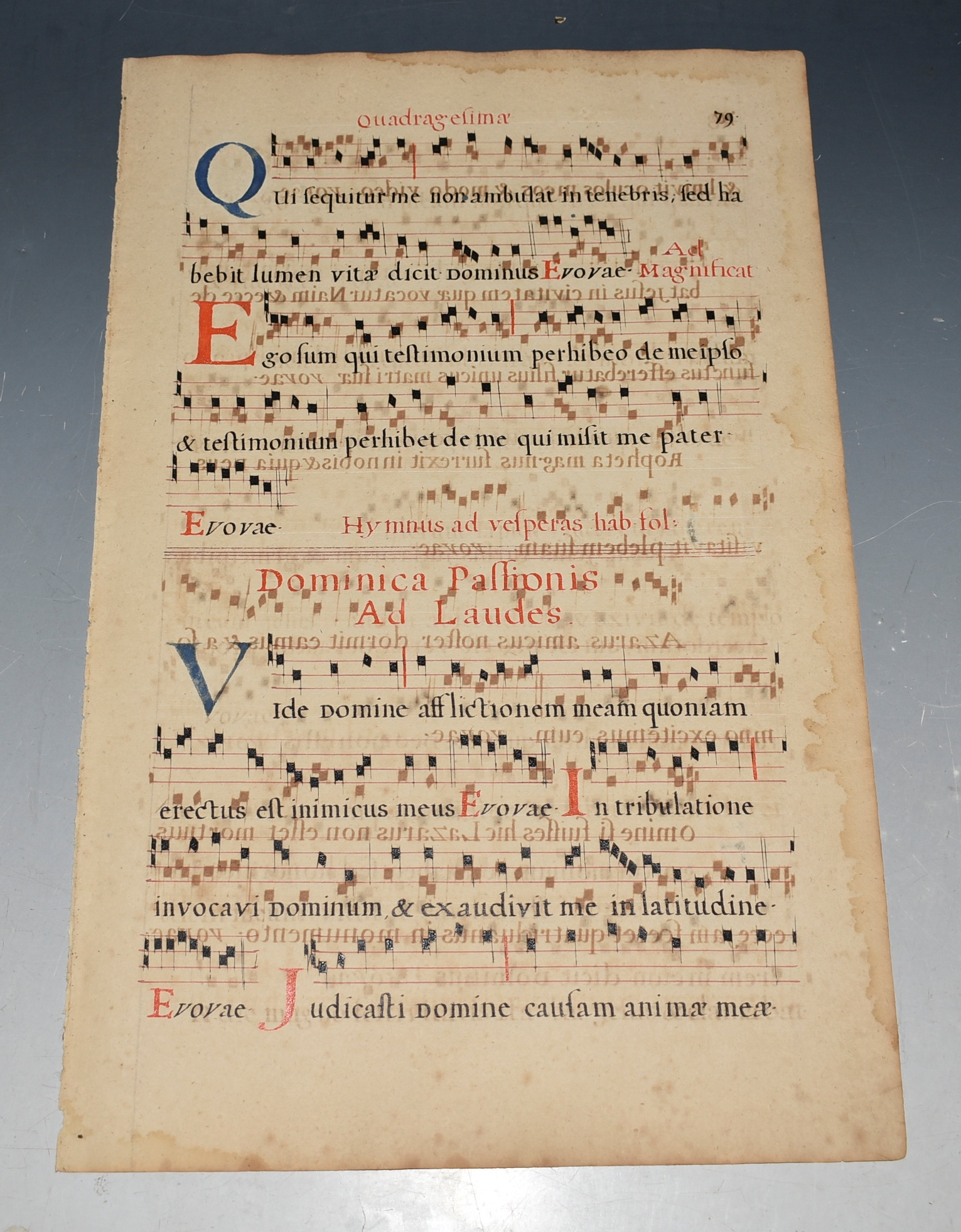 Image for Original ILLUMINATED Antiphon Music Sheet 1560 Parchment Leaf